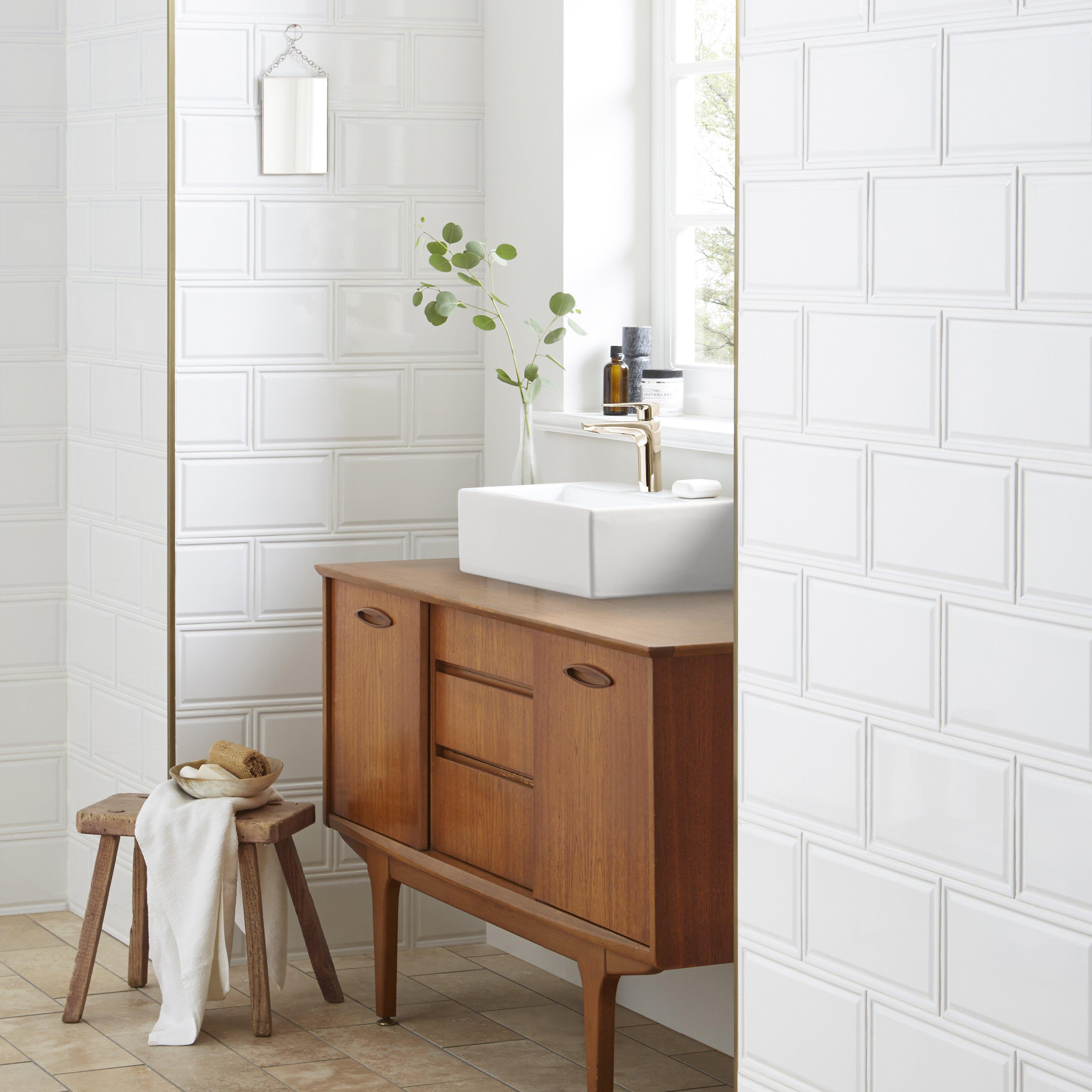 "Ceramic Wall Tile: EliteTile Linio 6"" X 12"" Ceramic Wall Tile In White"