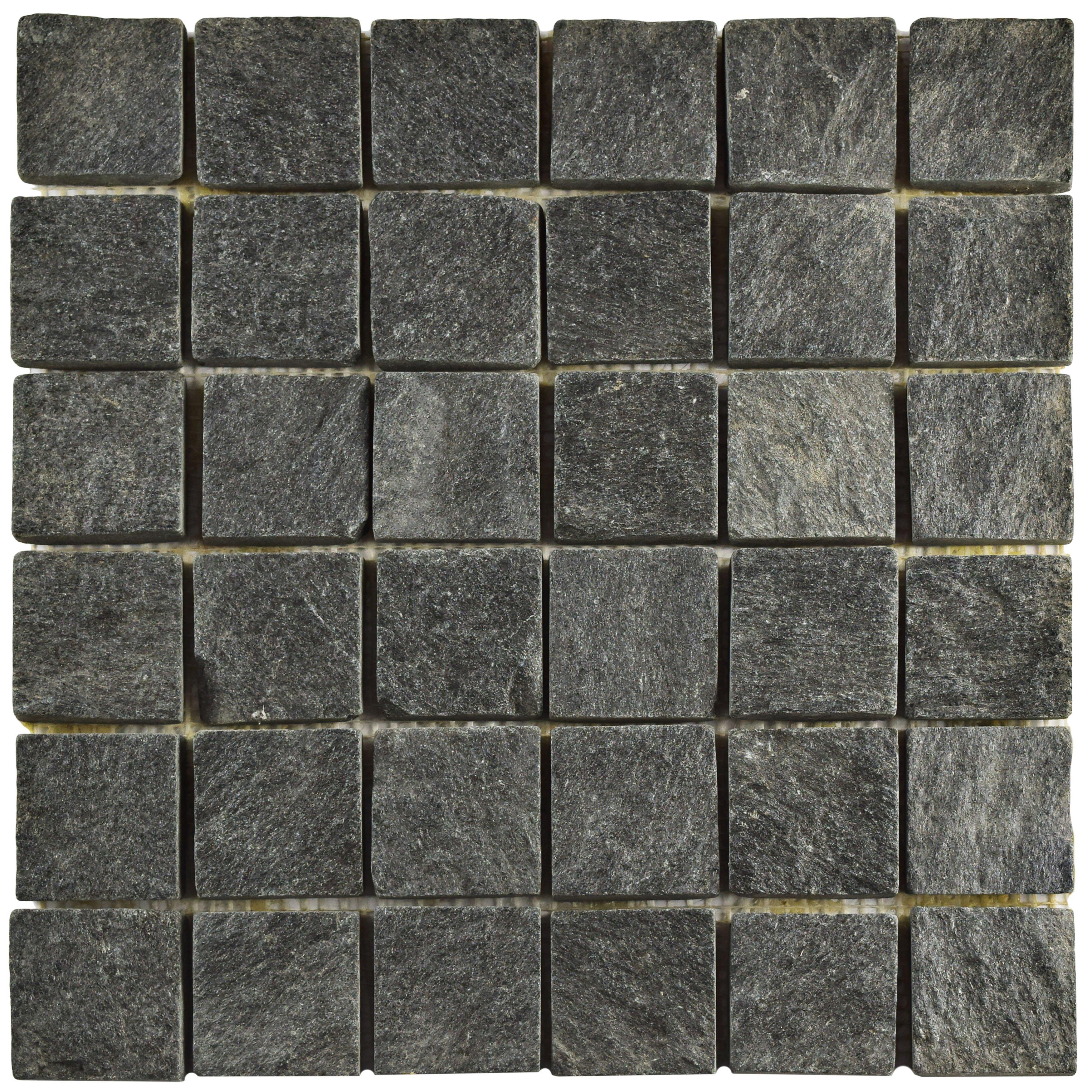 """EliteTile Peak Quad Quartzite 1.88"""" x 1.88"""" Slate Mosaic ..."""
