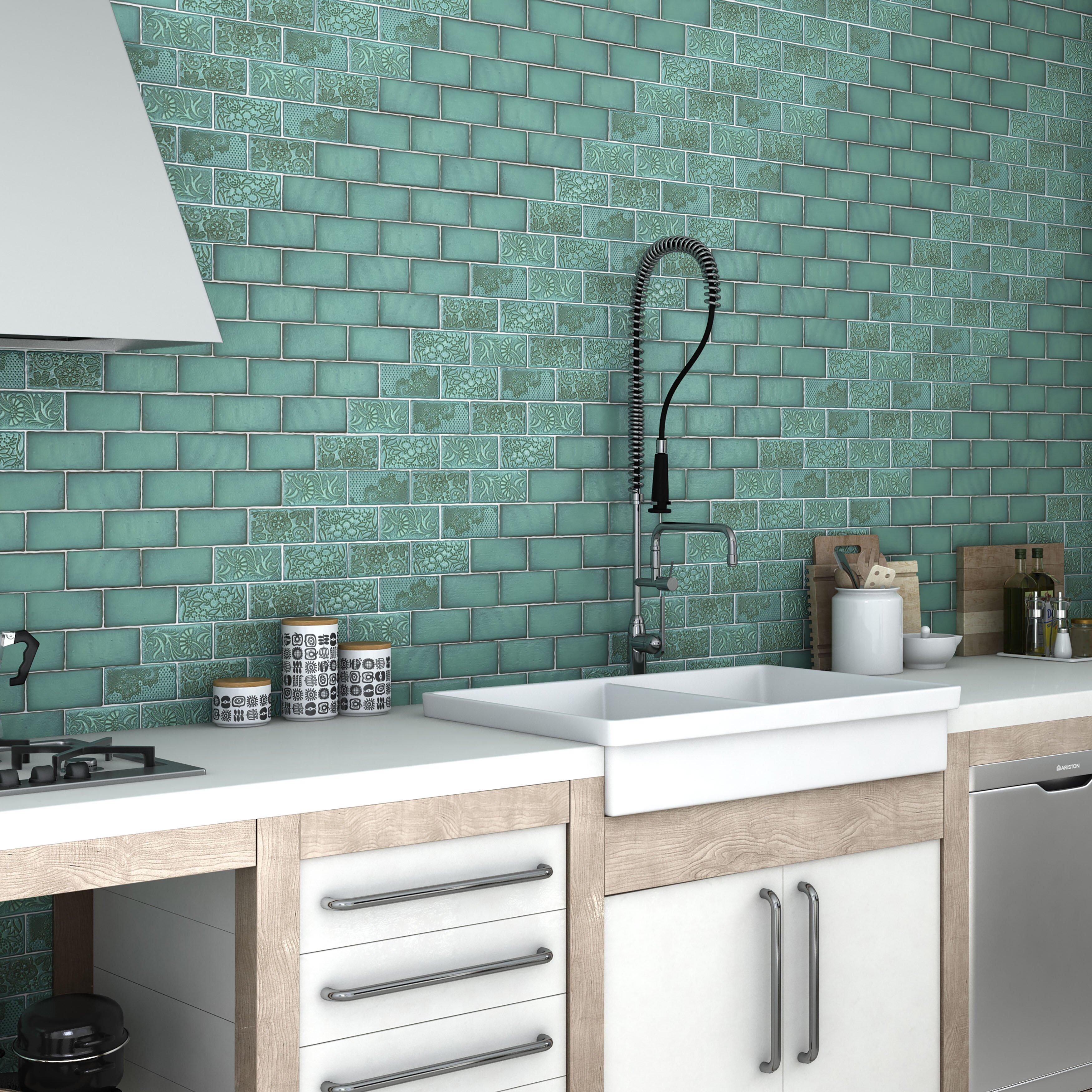 Elitetile antiqua 3 x 6 ceramic subway tile in feelings lava verde reviews wayfair - Fliesen scheld ...