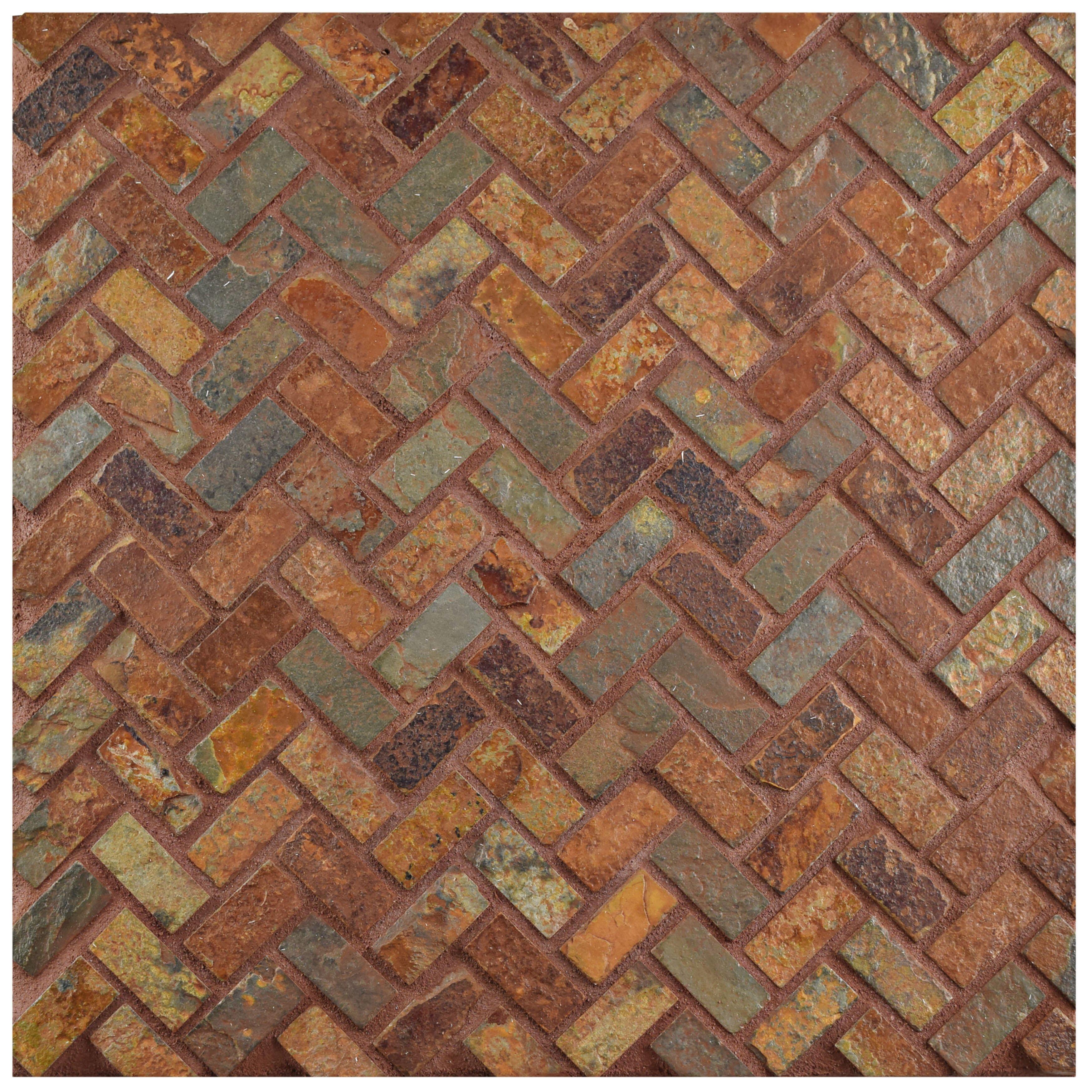 Elitetile Peak Herringbone X Slate Mosaic Tile