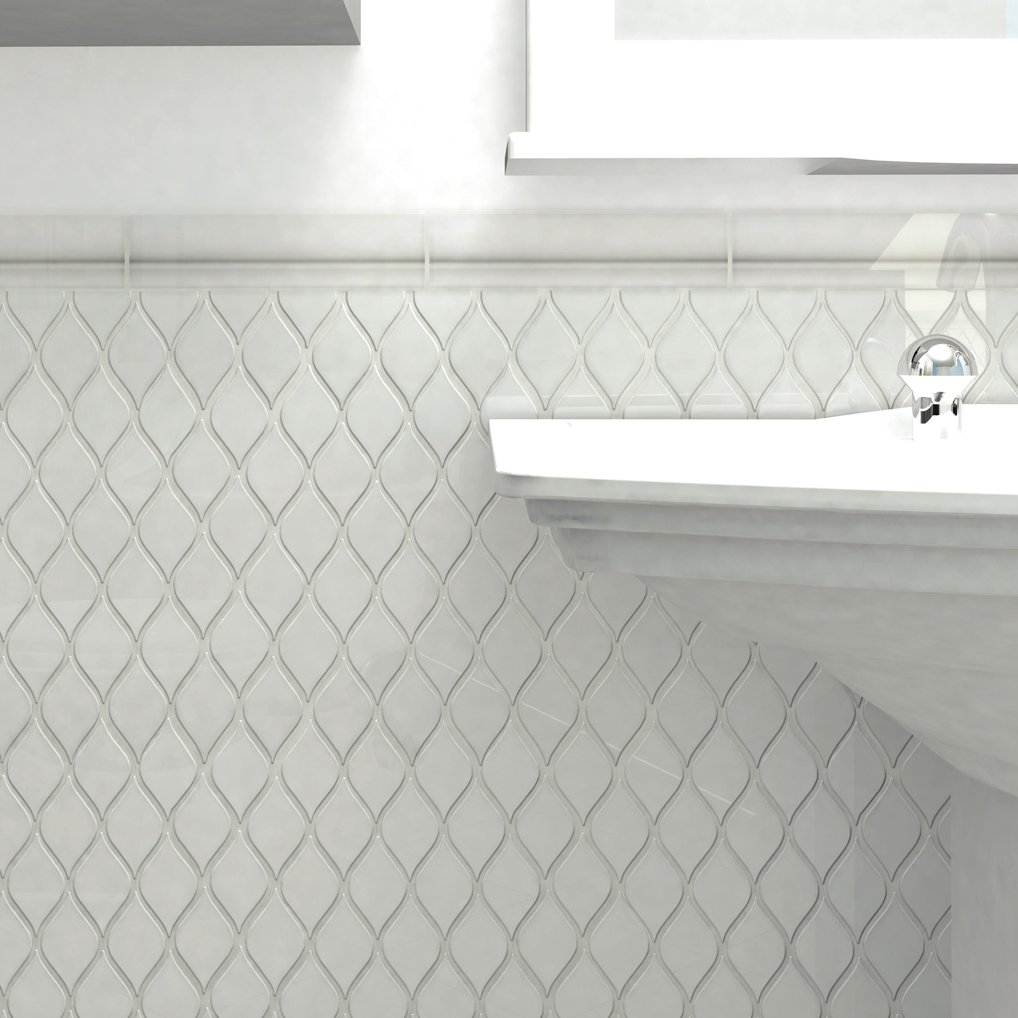 "EliteTile Guadeloupe 2"" X 8"" Ceramic Moldura Trim Wall"