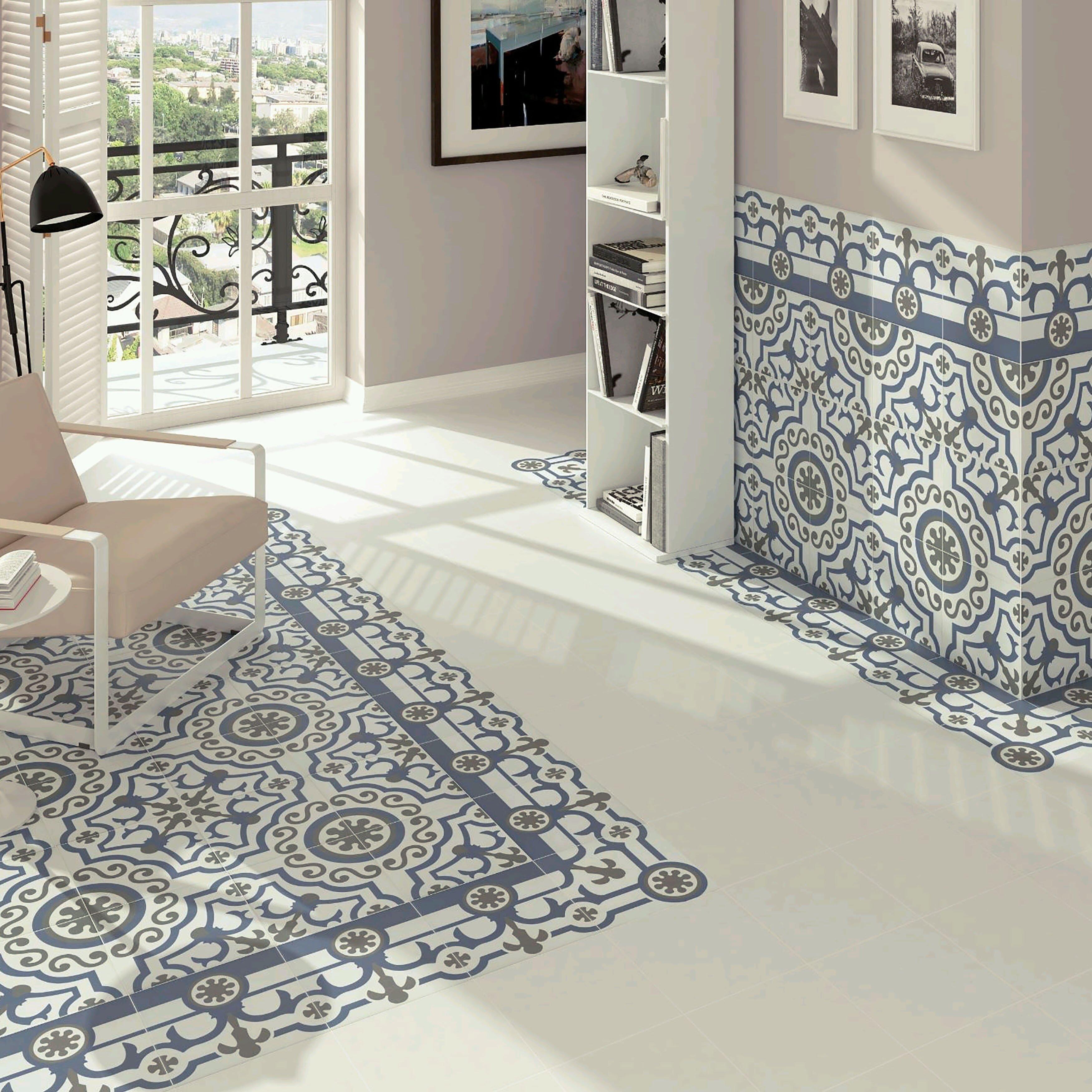 Elitetile hydraulic 9 5 x 9 5 porcelain floor and wall tile in ducados angulo reviews wayfair - Fliesen scheld ...