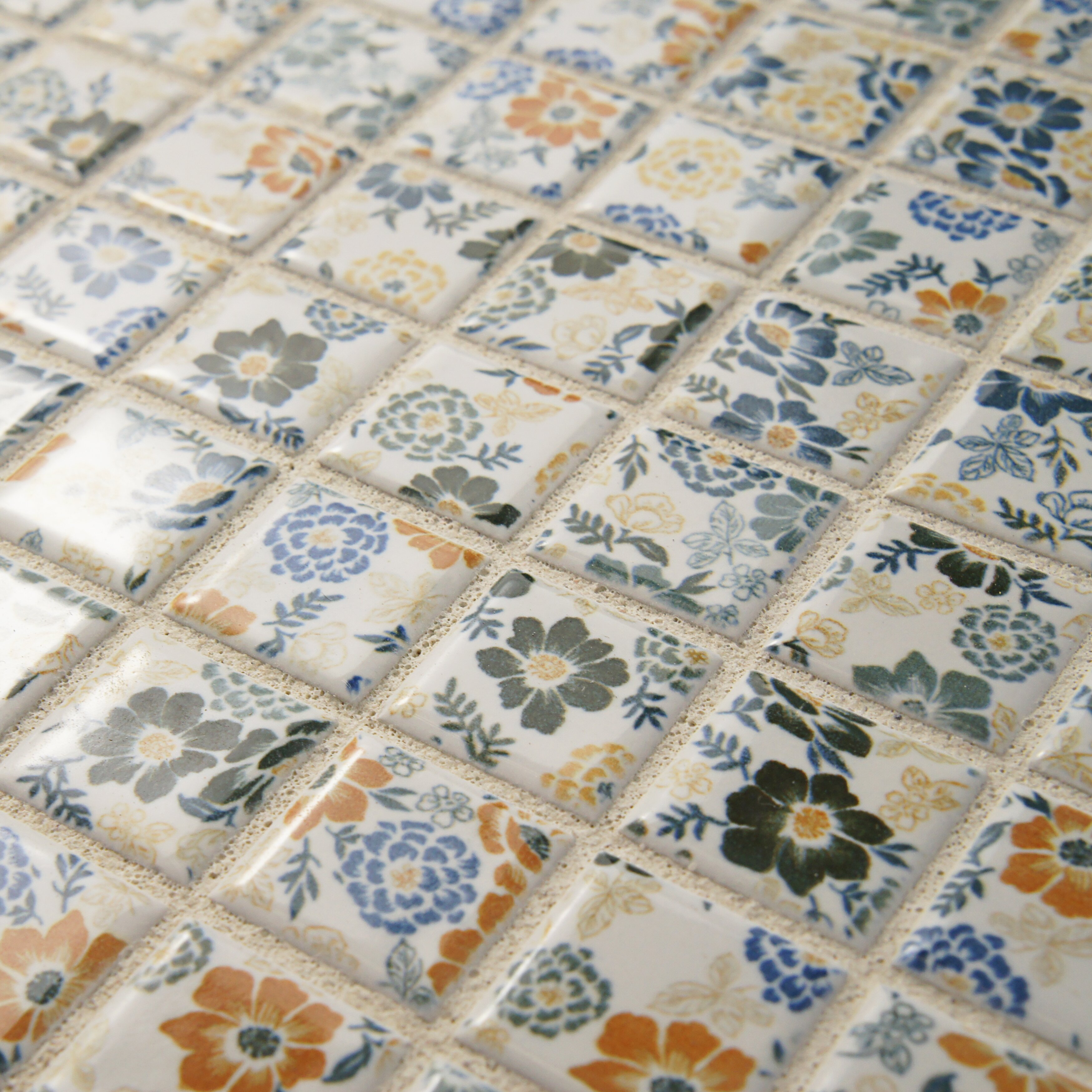 75 Porcelain Mosaic Floor And Wall Tile In Flower Reviews W