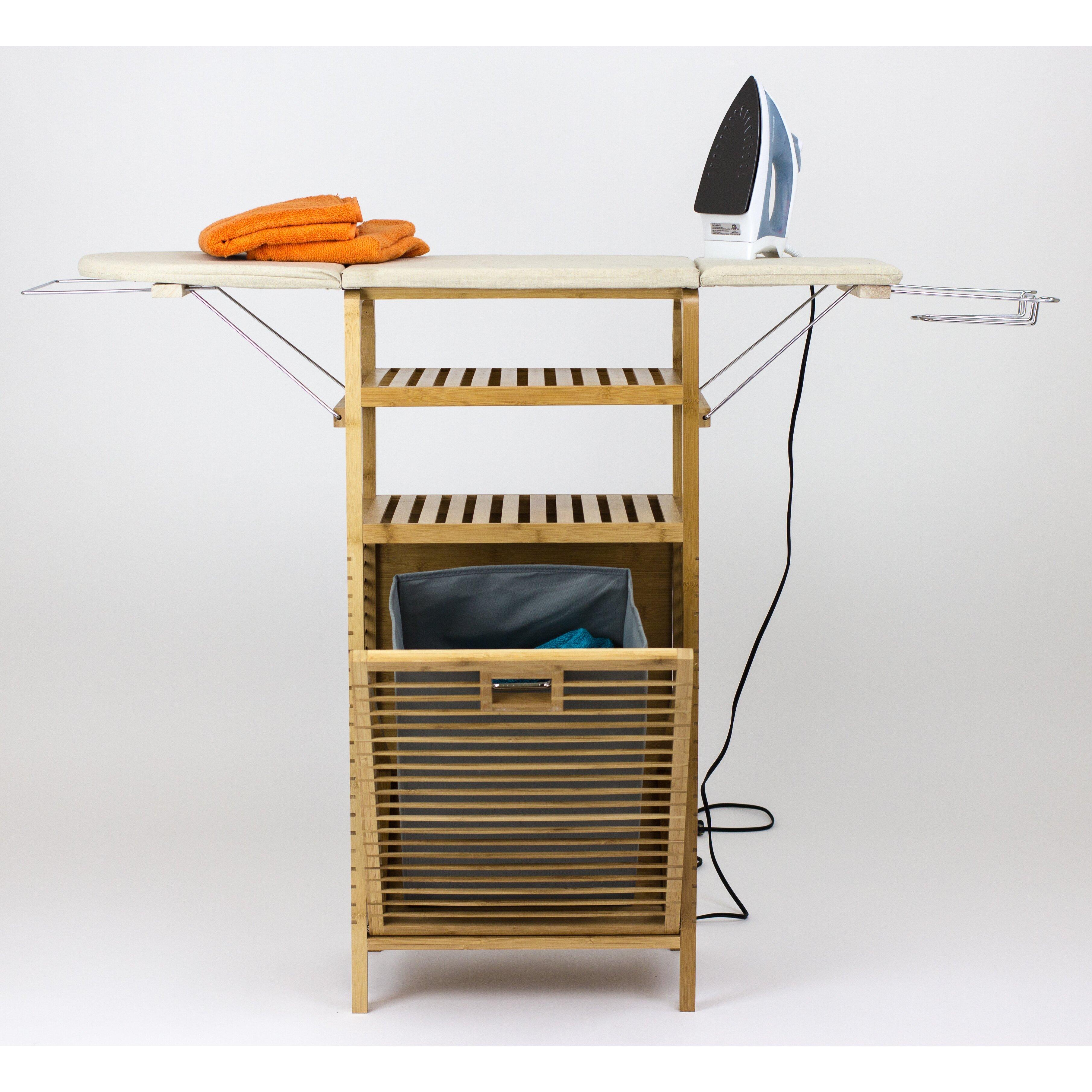 Corner Housewares Bamboo Ironing Board With Laundry Hamper