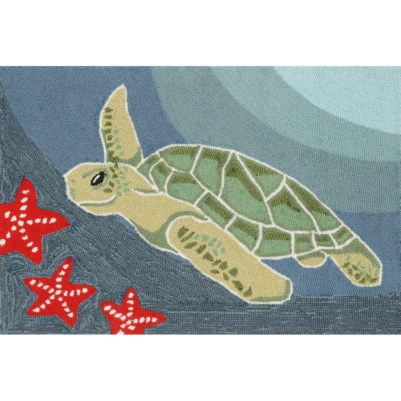 Liora Manne Frontporch Blue Ocean Sea Turtle Area Rug