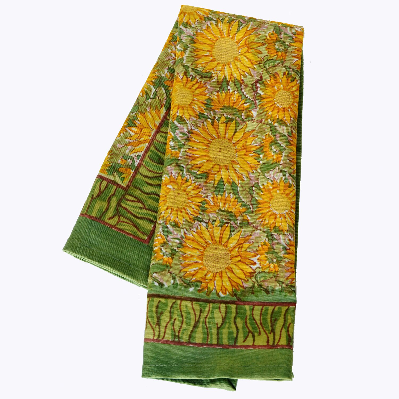 couleur nature sunflower yellow green tea towel reviews. Black Bedroom Furniture Sets. Home Design Ideas