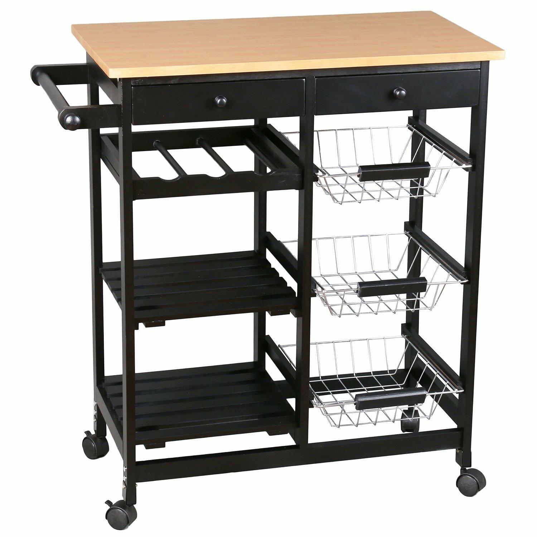 Merax Kitchen Cart With Wood Top Reviews Wayfair