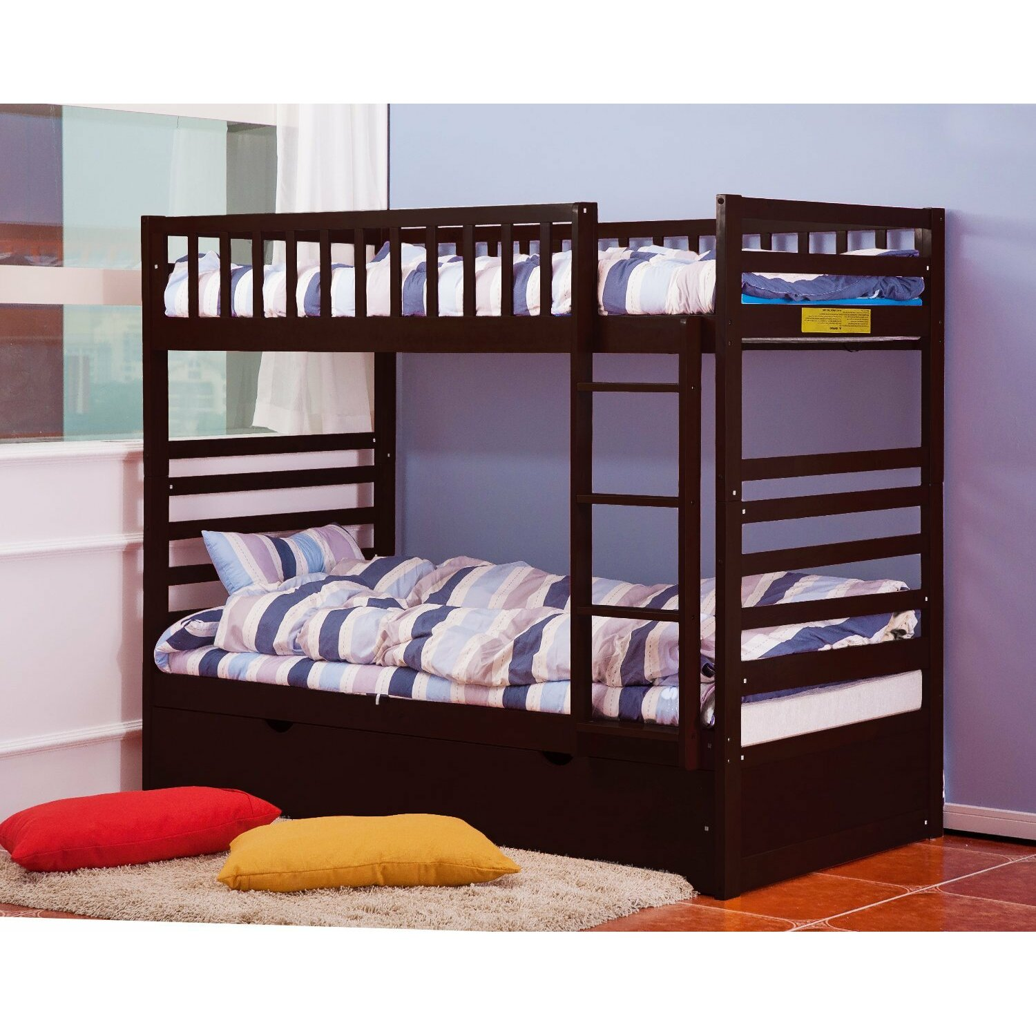 merax twin over twin bunk bed with trundle wayfair. Black Bedroom Furniture Sets. Home Design Ideas
