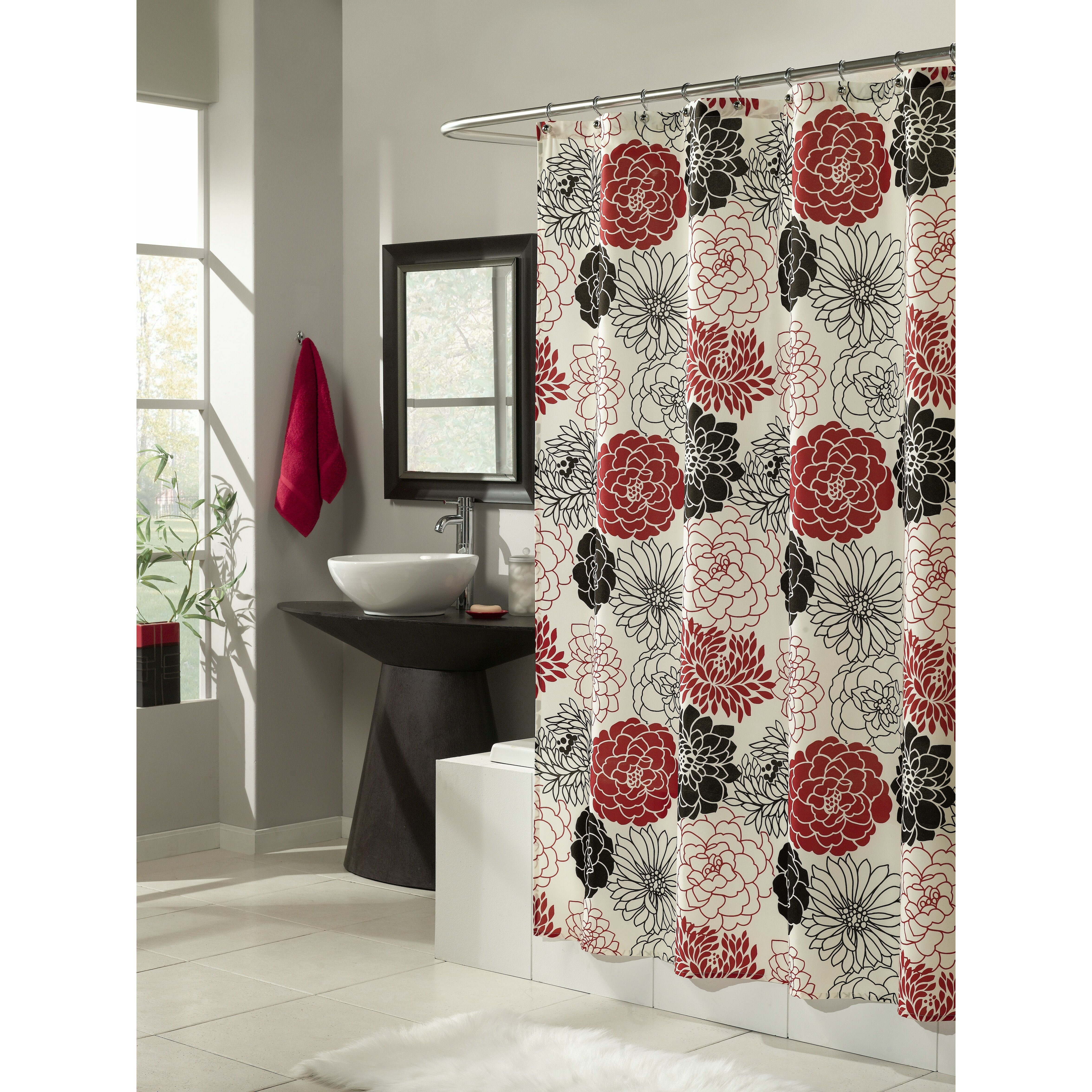 M Style Full Bloom Microfiber Shower Curtain Amp Reviews