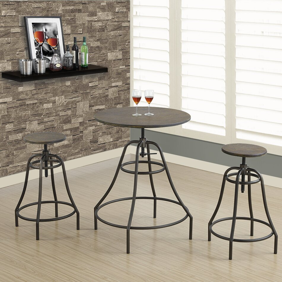 monarch specialties inc 3 piece dining set wayfair. Black Bedroom Furniture Sets. Home Design Ideas