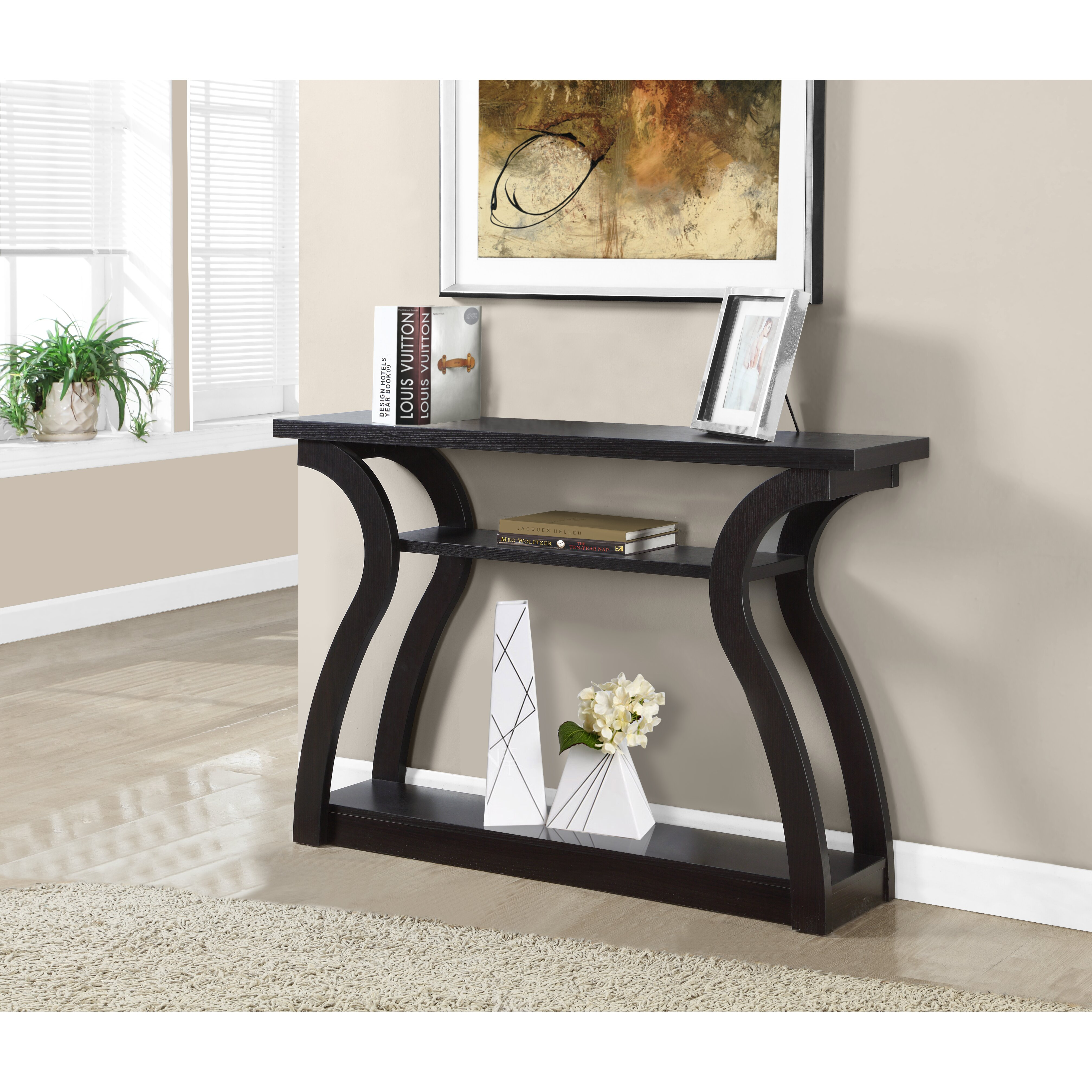 Monarch specialties inc console table reviews wayfair for Slim sofa table