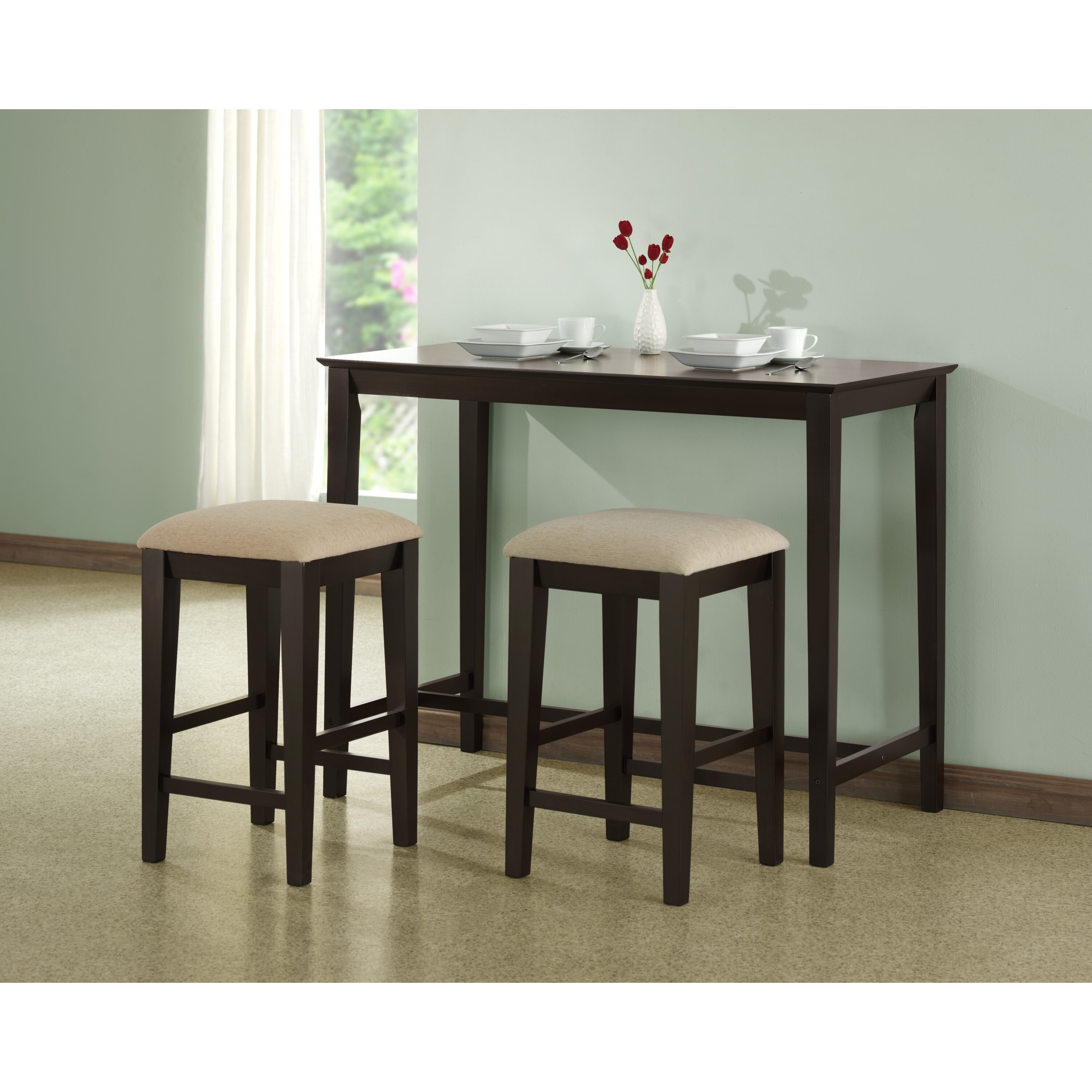 Monarch specialties inc counter height kitchen table for Kitchen tables for small areas
