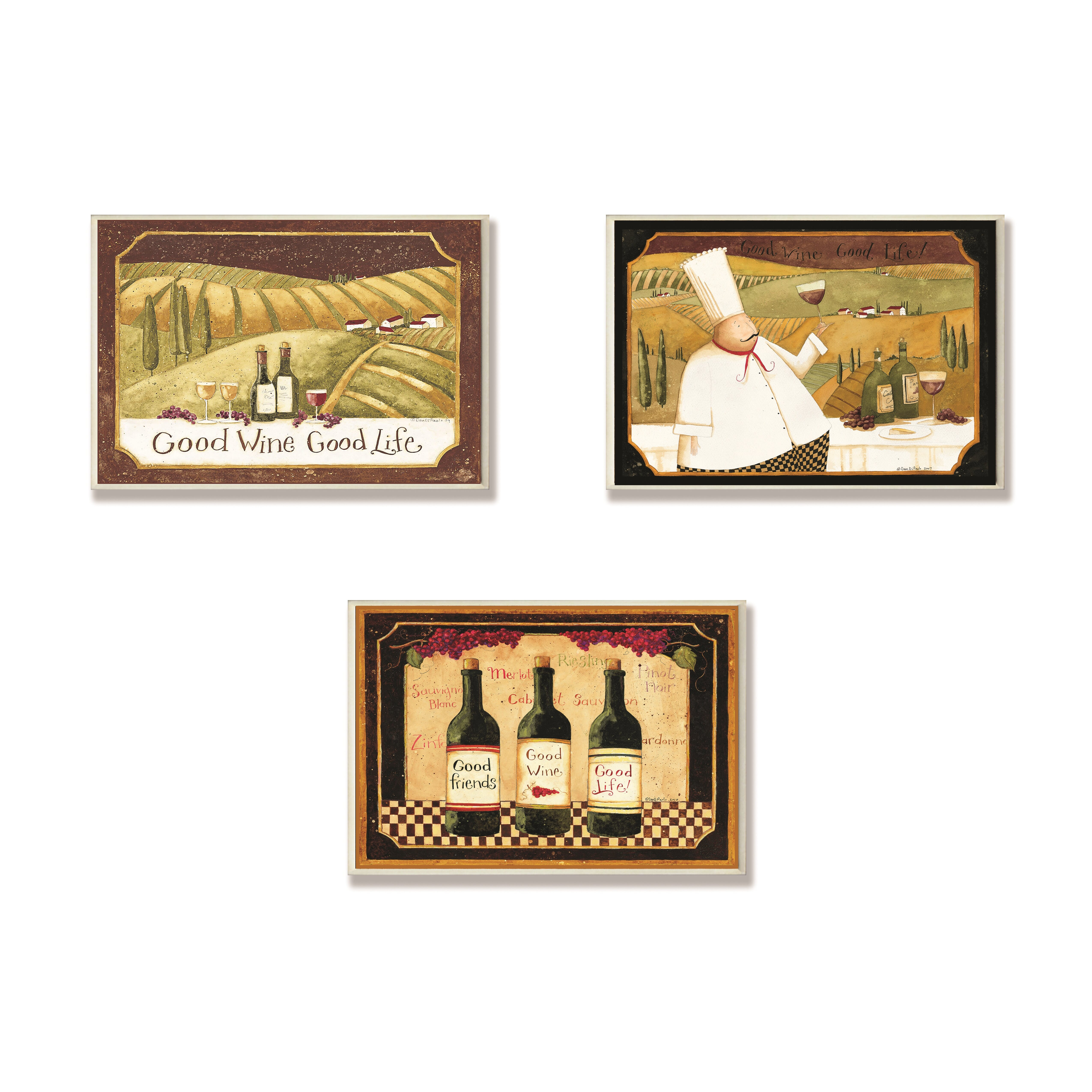 Stupell industries good friends wine and life 3 piece for Kitchen wall decor sets
