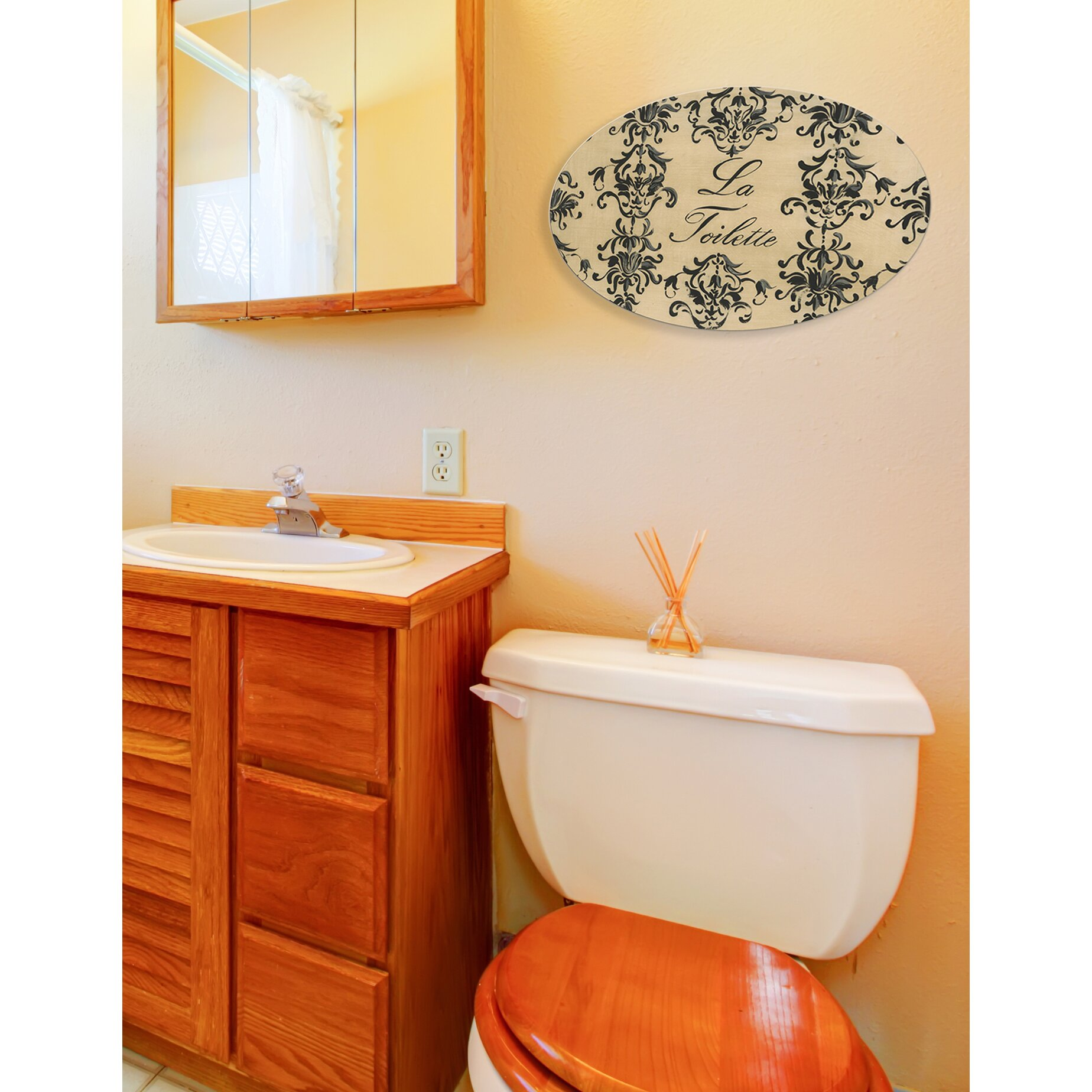 stupell industries toile la toilette oval bathroom wall plaque reviews. Black Bedroom Furniture Sets. Home Design Ideas