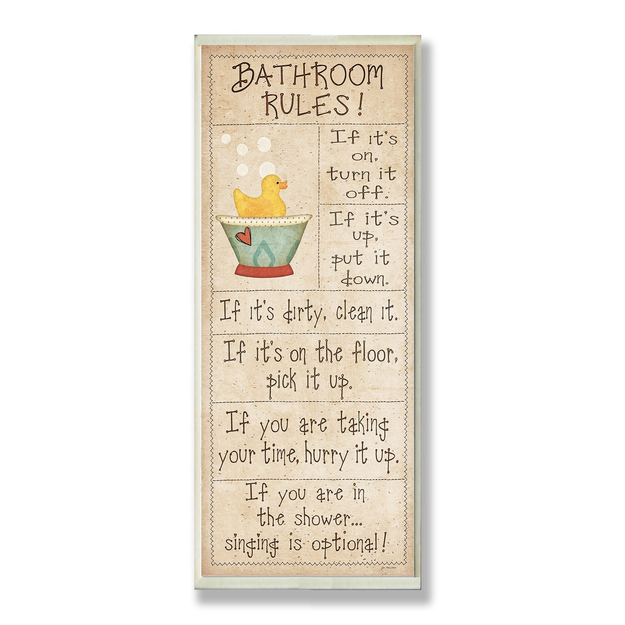 Stupell Industries Bathroom Rules Rubber Ducky Typography