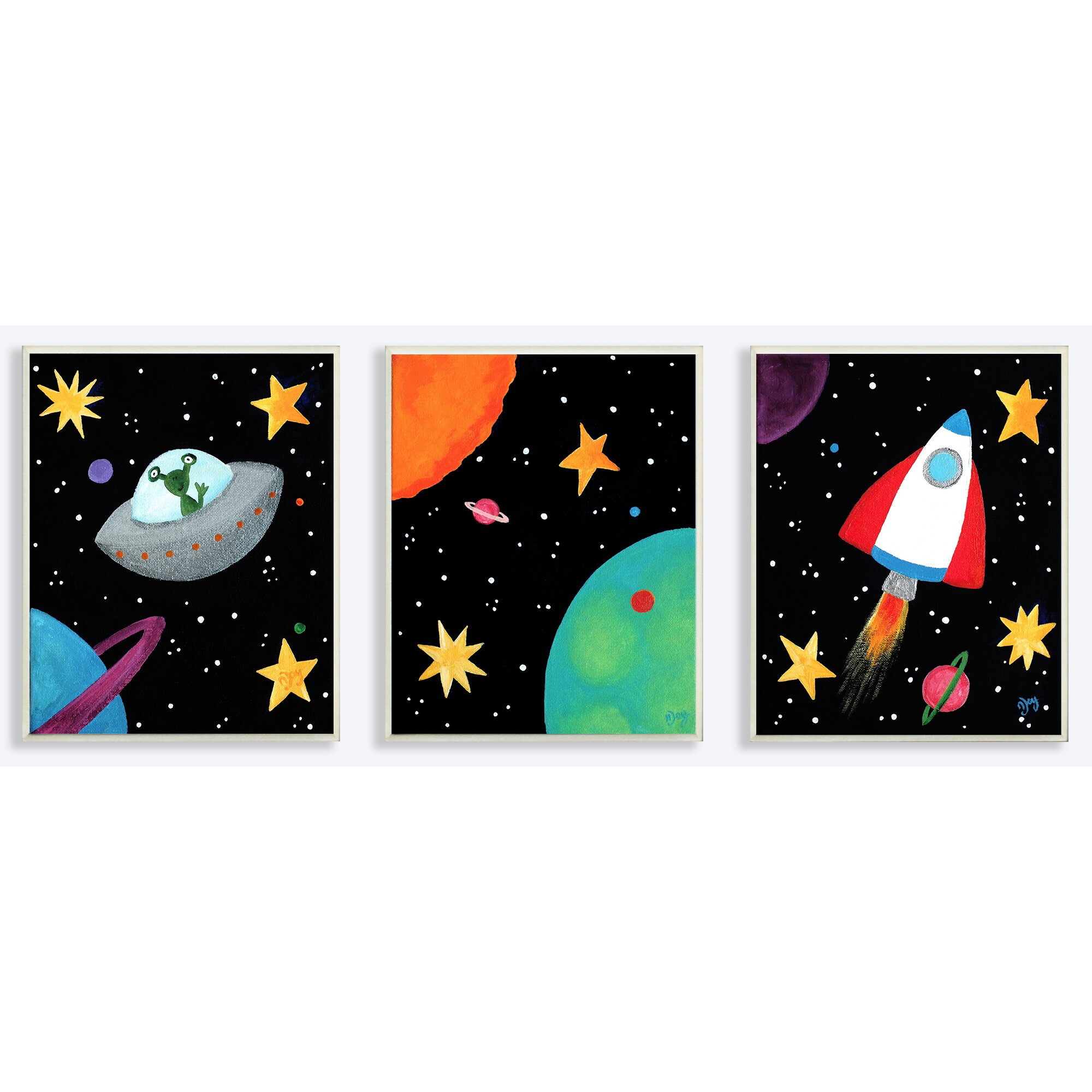 Stupell industries the kids room outer space triptych 3 for Wall decor outer space