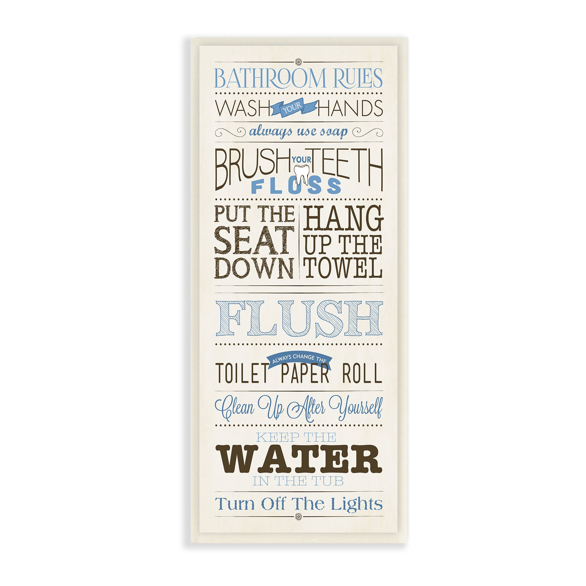Stupell Industries Bathroom Rules Modern Skinny Rectangle