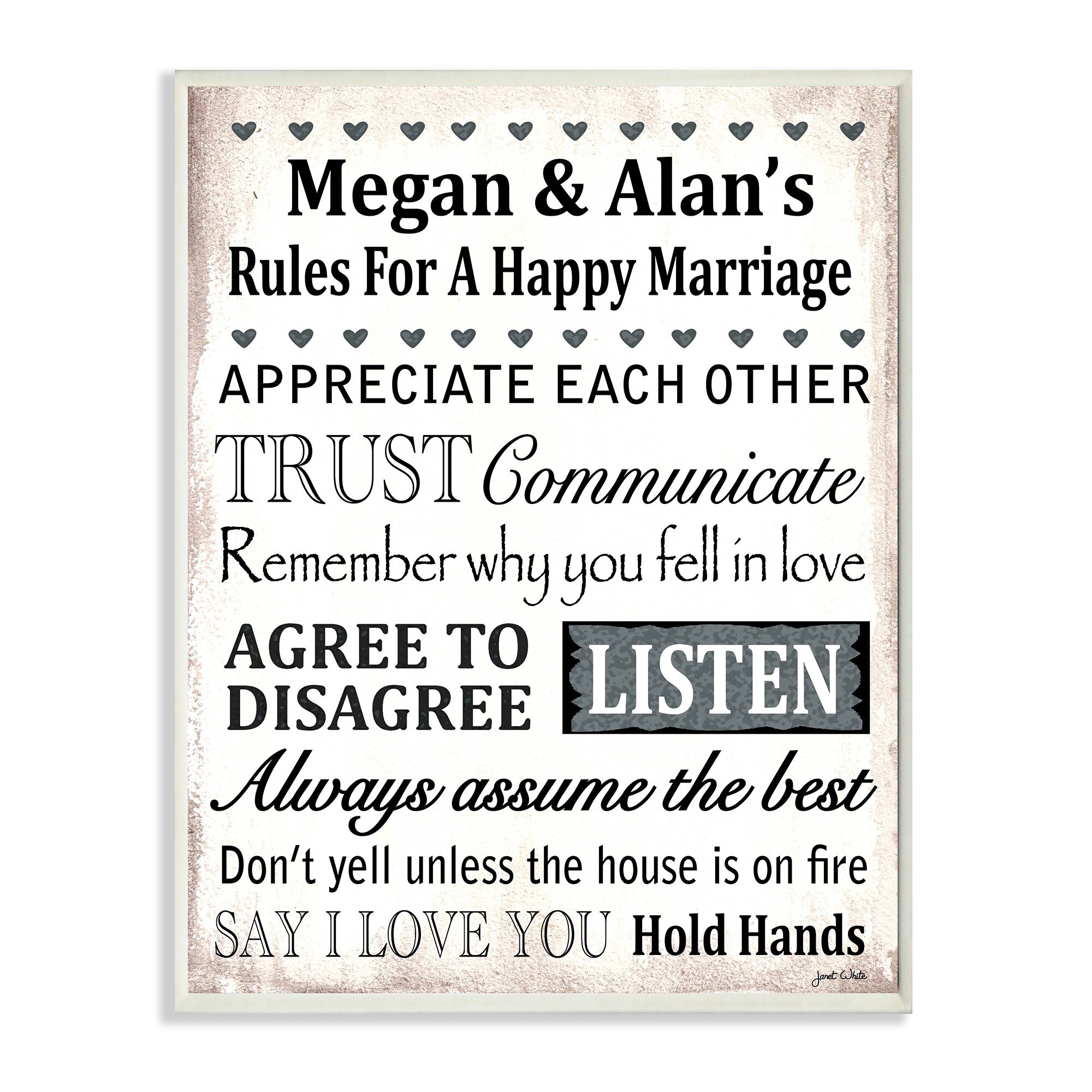 Stupell Industries Personalized Happy Marriage Rules