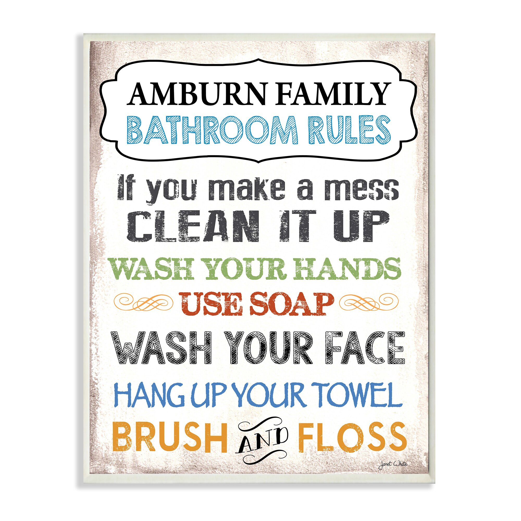 Stupell Industries Personalized Bathroom Rules Rainbow by Janet. Bathroom Plaque