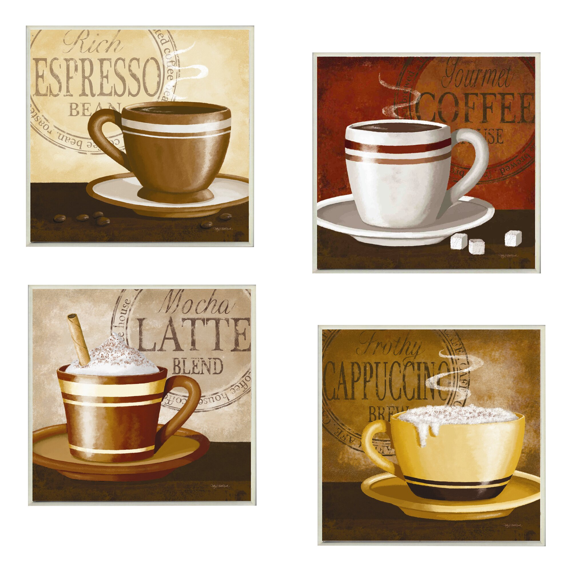 Stupell industries espresso coffee latte cappuccino 4 for Kitchen wall decor sets