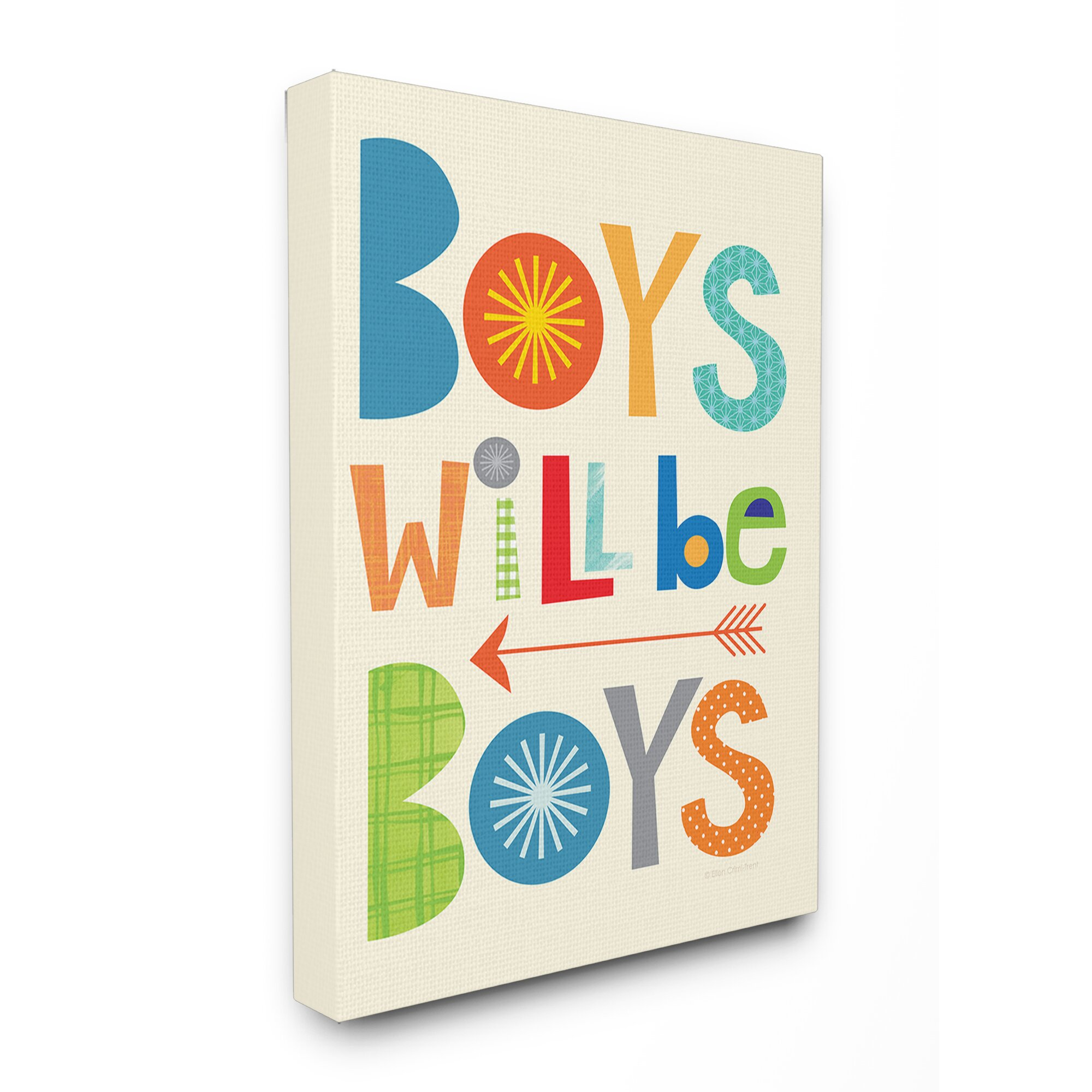 Industries The Kids Room Boys Will Be Boys With Arrow Canvas Wall Art