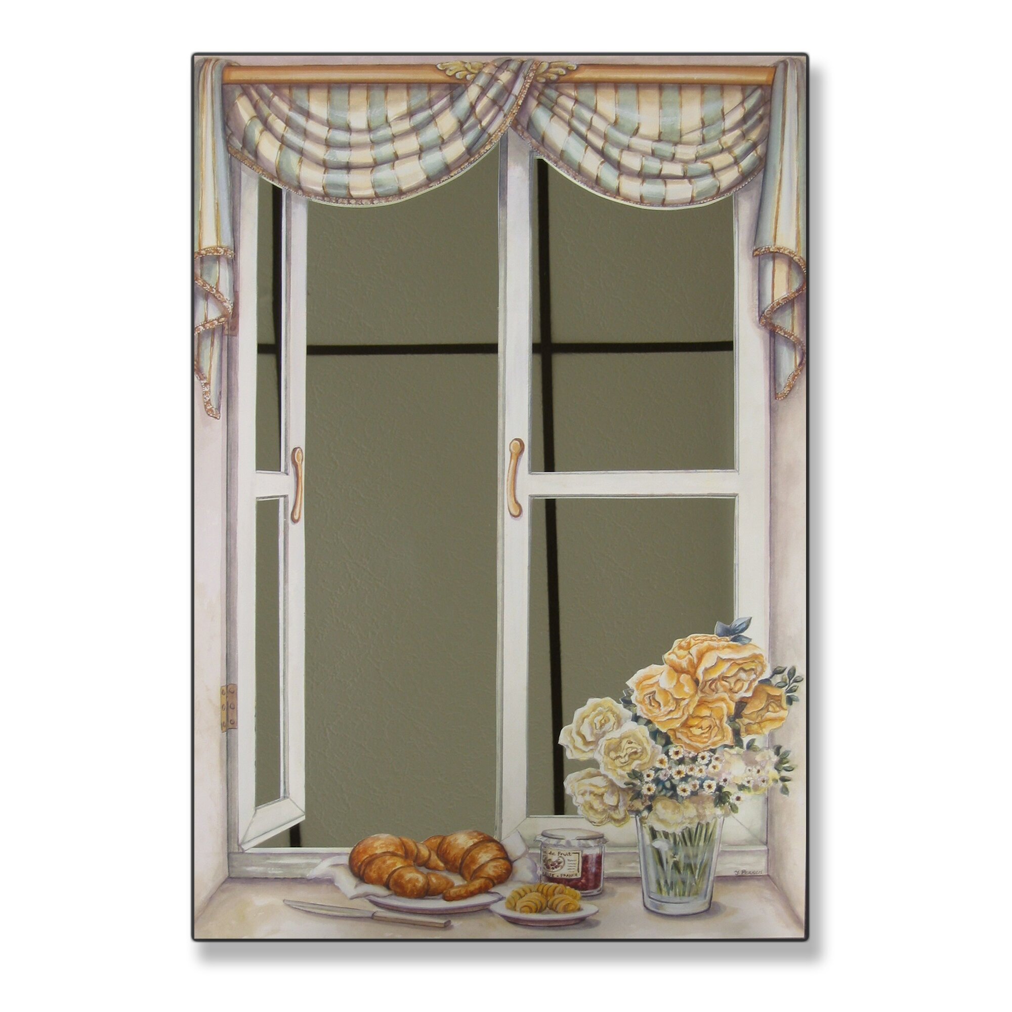 mirrors for bathrooms stupell industries croissant and roses faux window mirror 13704