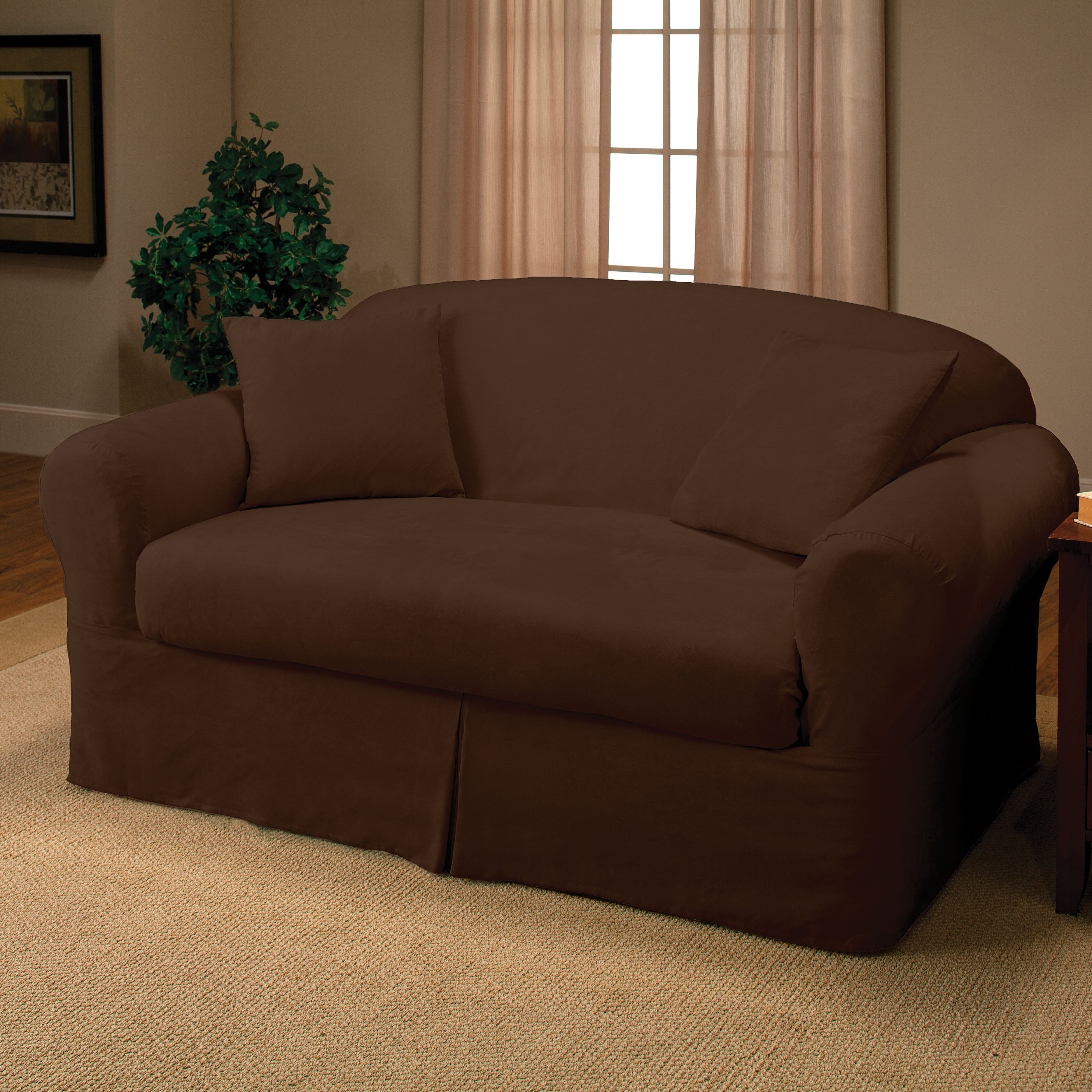 Madison Home Microsuede Two Piece Loveseat Slipcover