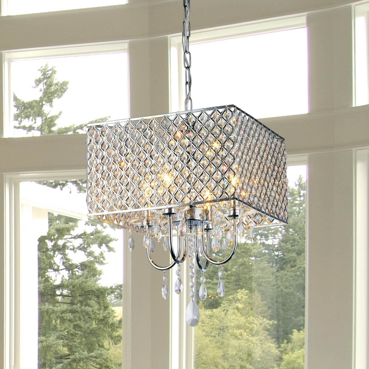 Warehouse Of Tiffany Square 4 Light Crystal Chandelier