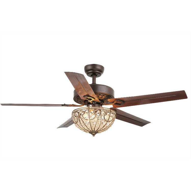 Warehouse Of Tiffany 5 Blade Crystal Light Ceiling Fan