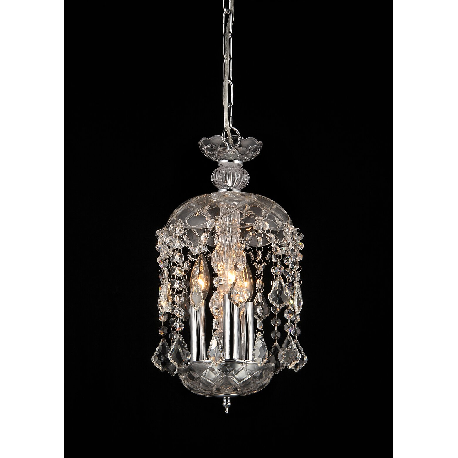 Warehouse Of Tiffany Karla 3 Light Crystal Chandelier