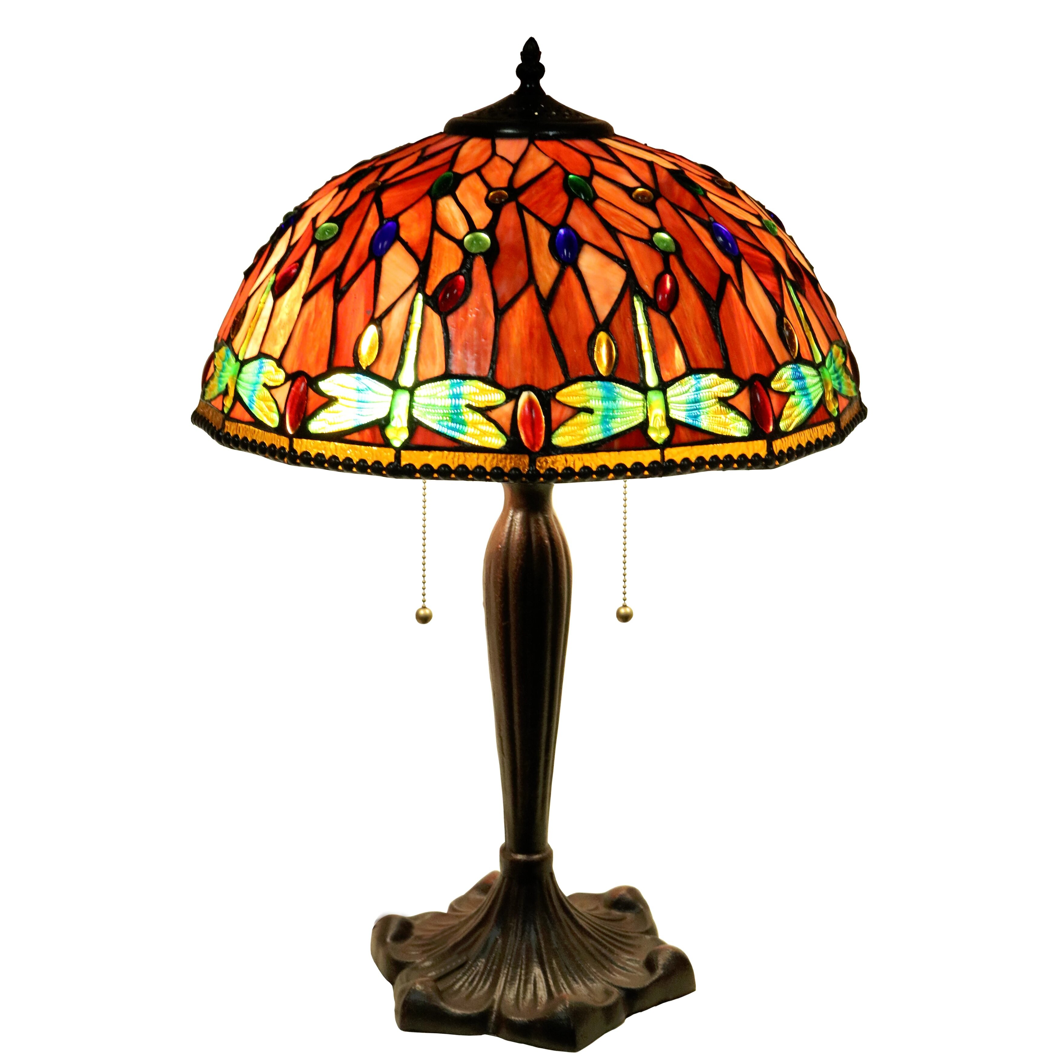 dragonfly 2 light stained glass 16 table lamp by warehouse of tiffany. Black Bedroom Furniture Sets. Home Design Ideas