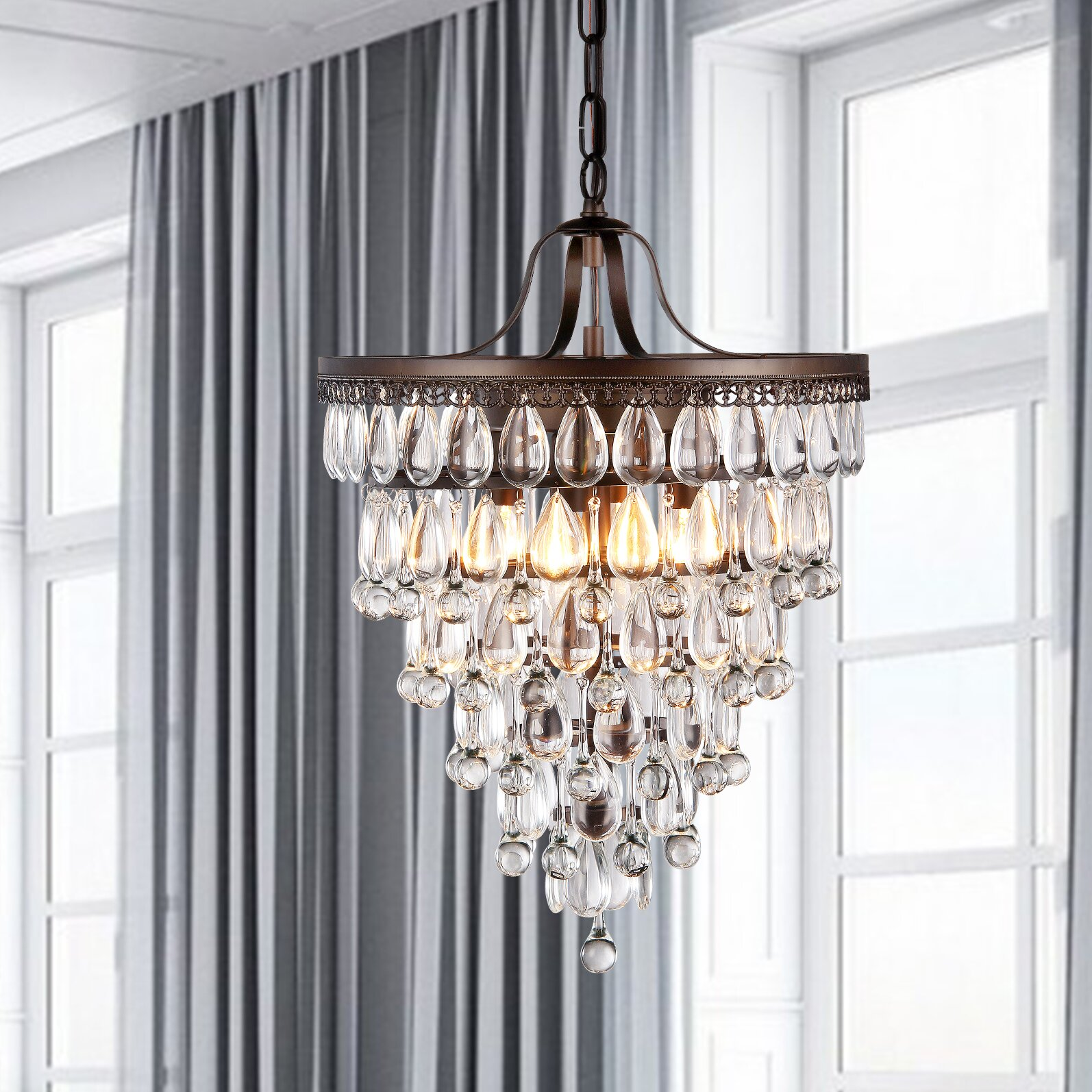 Warehouse of tiffany martinee 4 light crystal chandelier Warehouse of tiffany