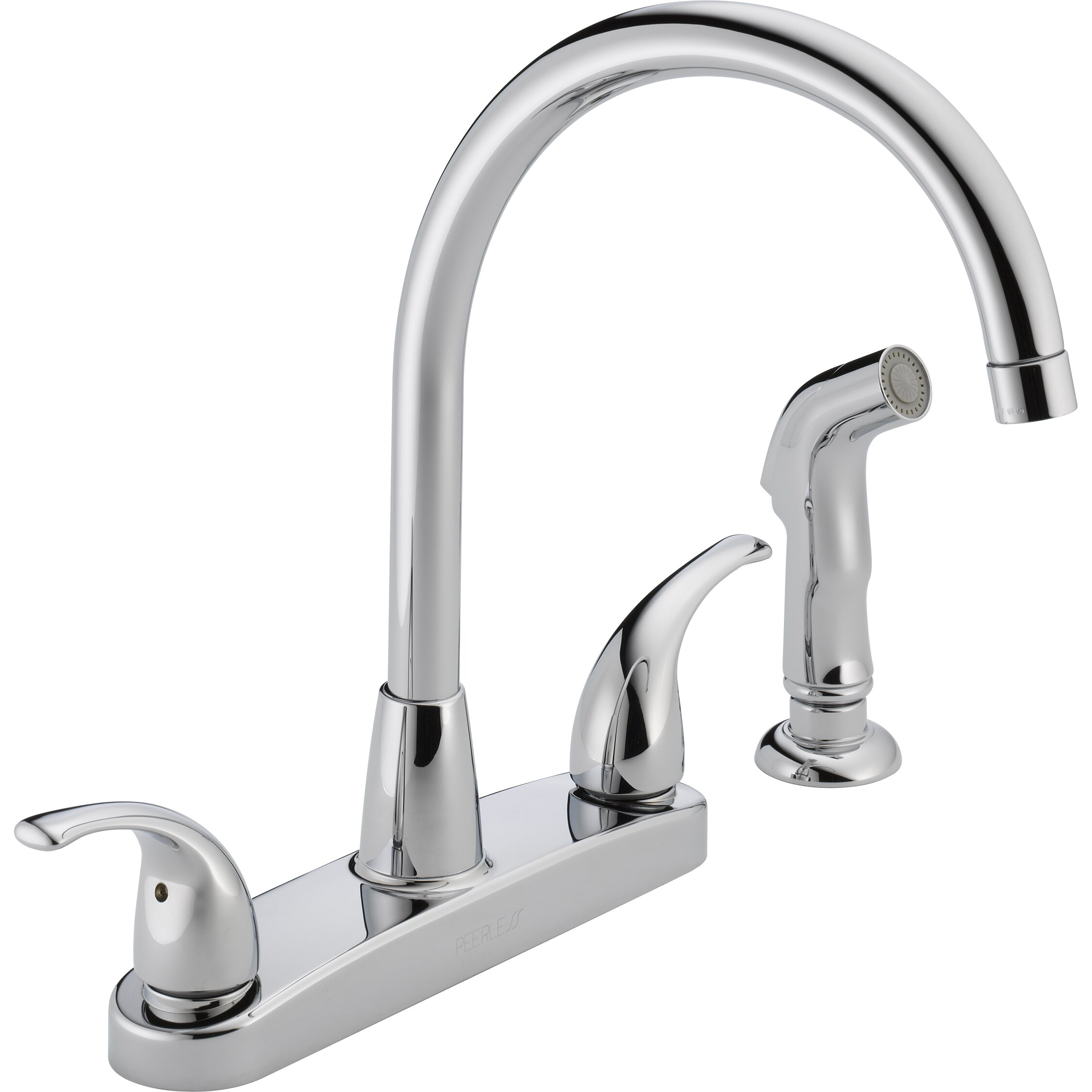 Peerless faucets two handle centerset kitchen faucet with for Handle kitchen set