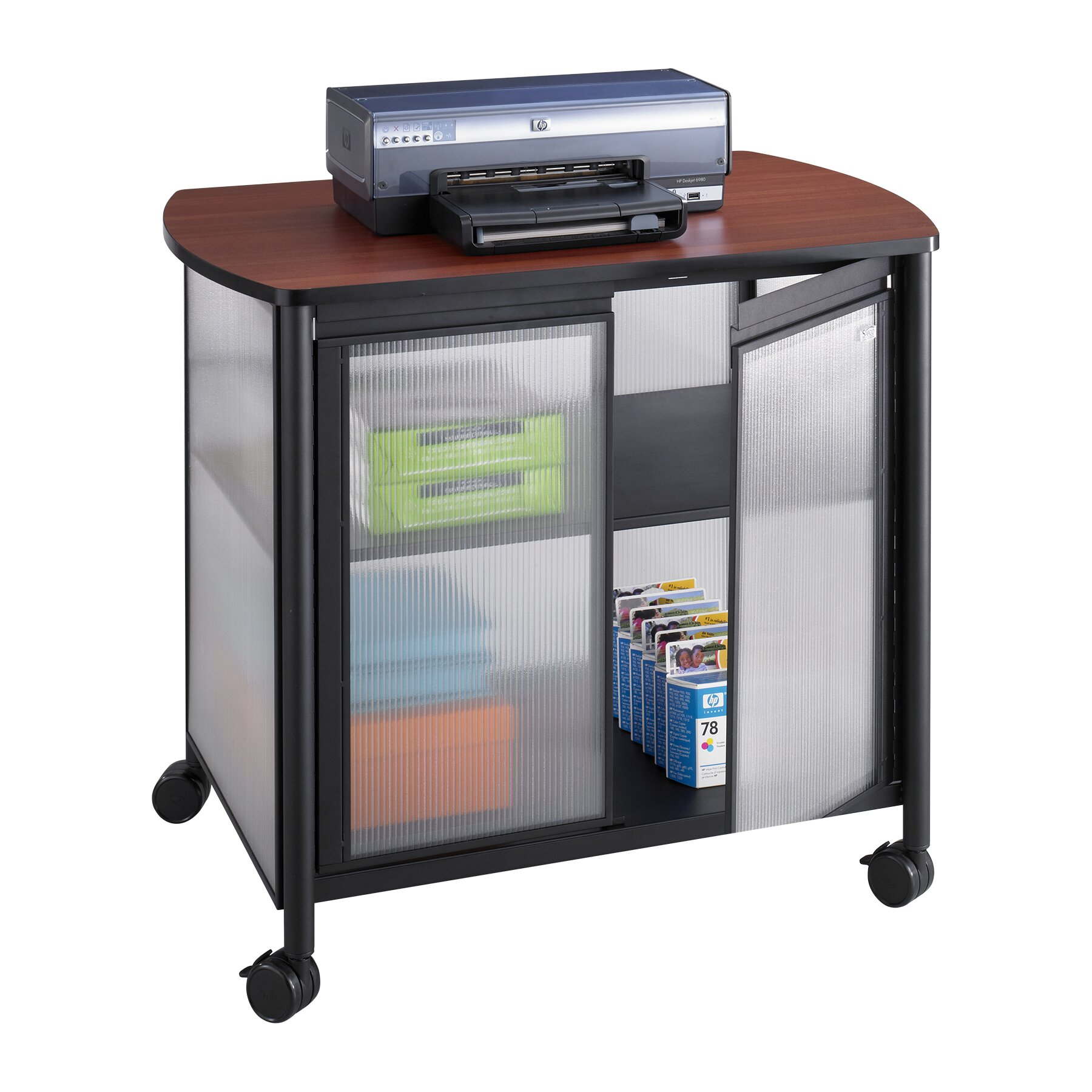 Safco products impromptu mobile printer stand with doors for Stand commercial