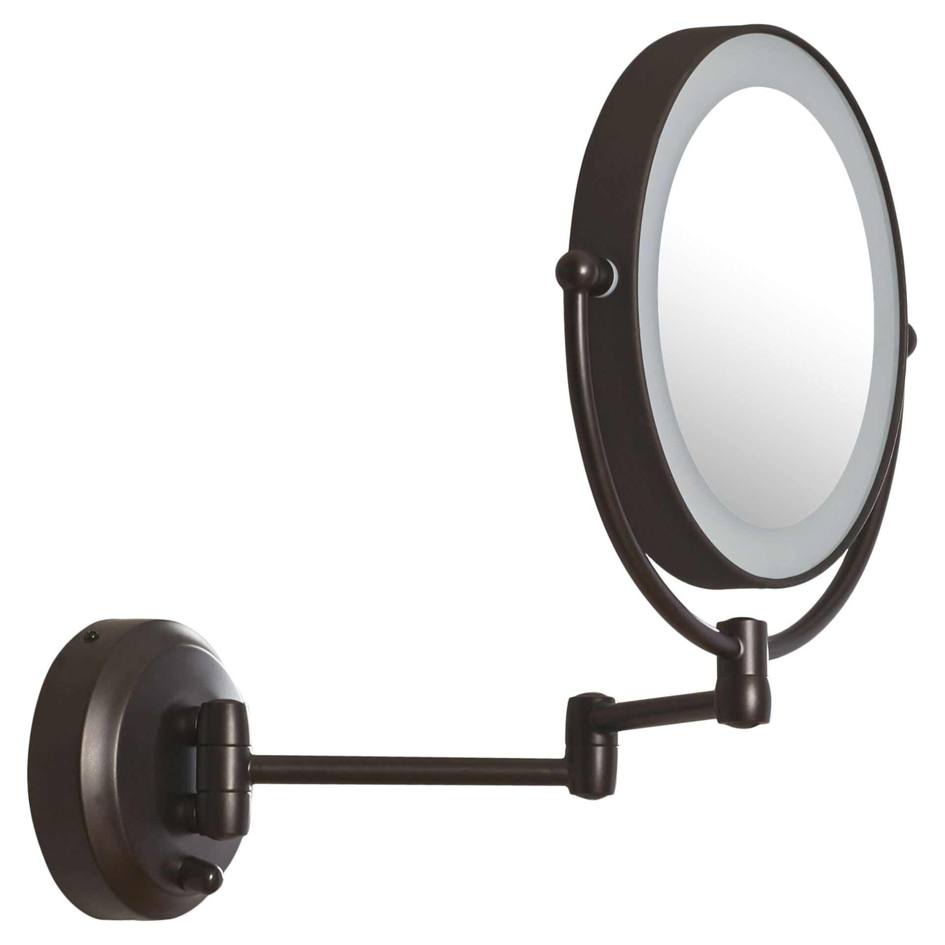 Wall mount magnifying mirror with lighted