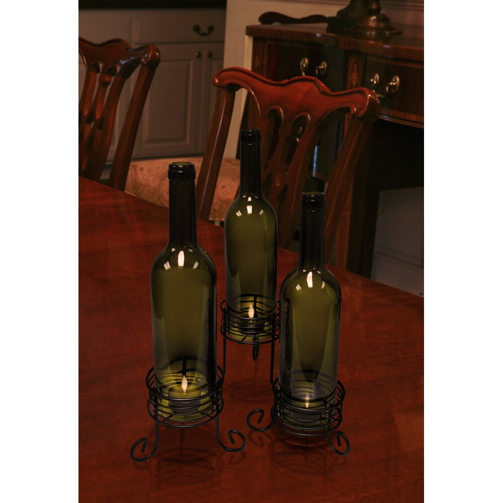 Vinotemp wine bottle candle holders reviews wayfair for Champagne bottle candle holders