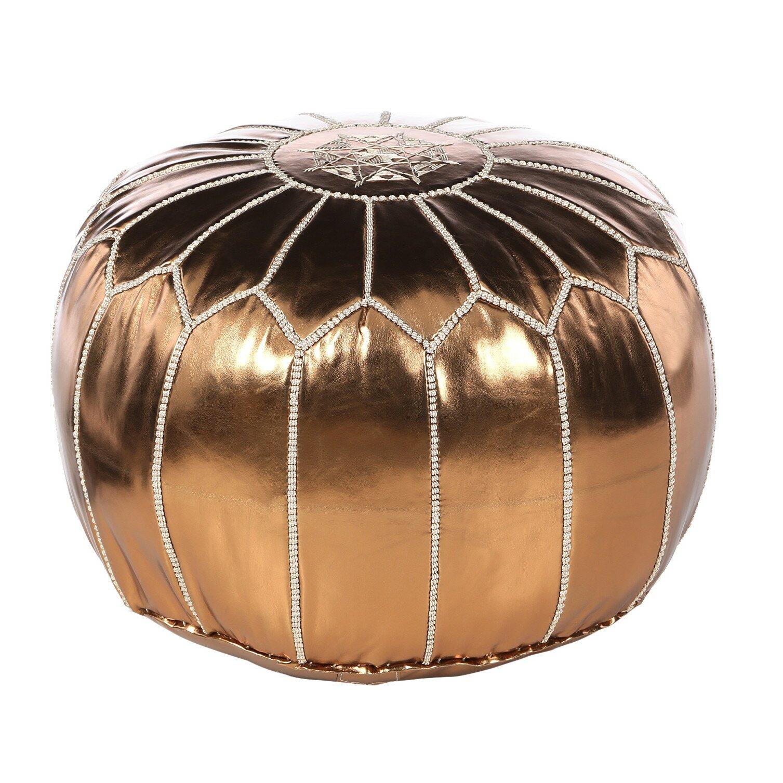 bungalow rose mouassine metallic pouf ottoman reviews wayfair. Black Bedroom Furniture Sets. Home Design Ideas