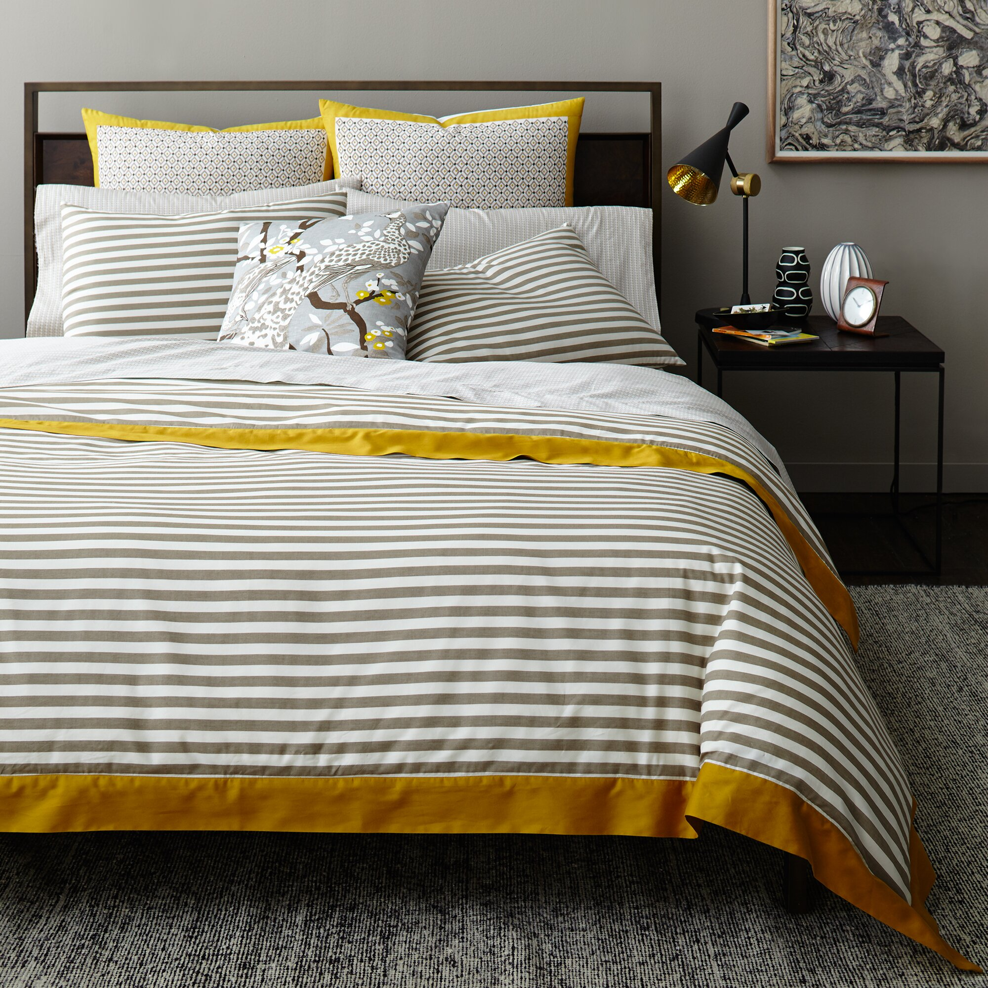 dwellstudio draper stripe ash duvet cover reviews
