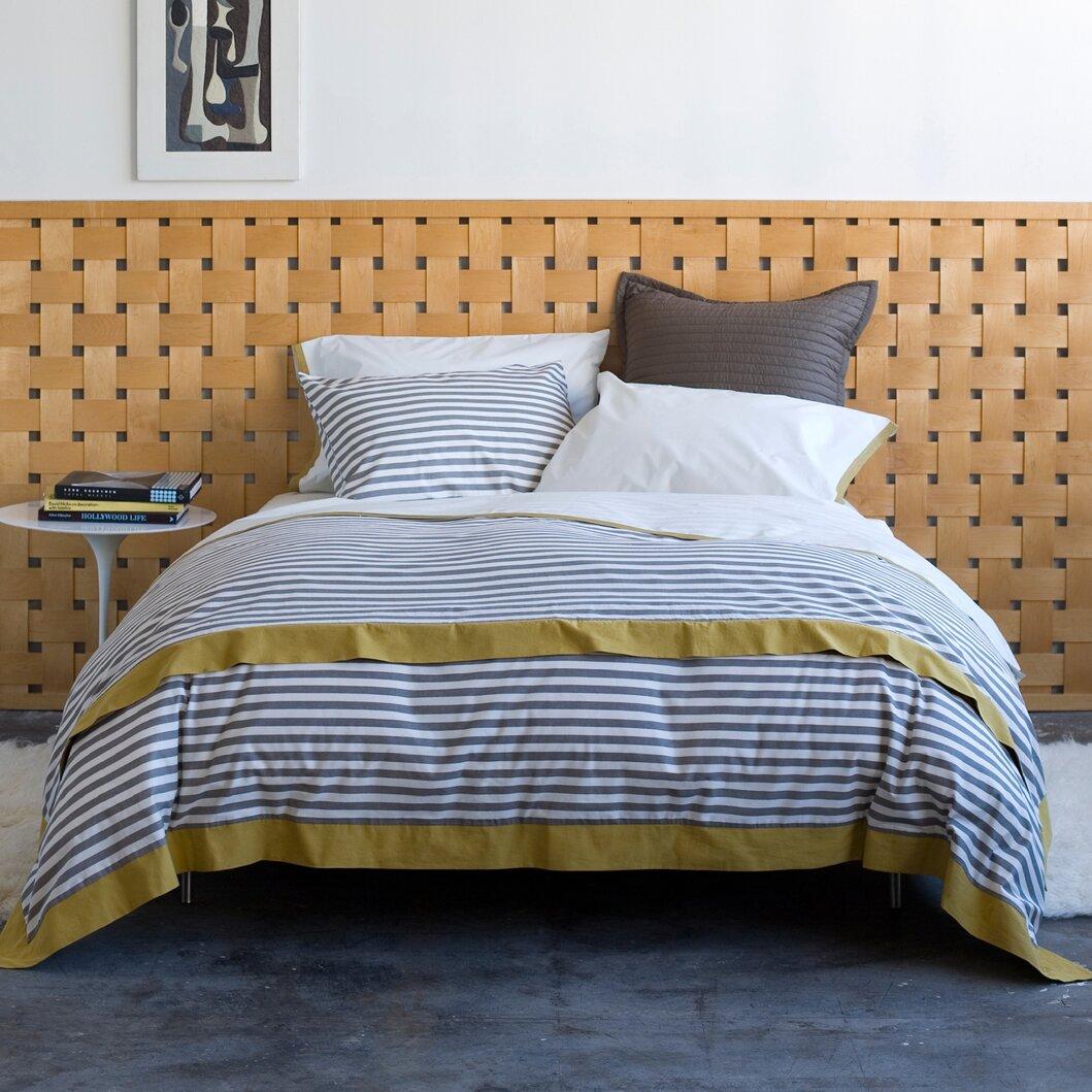 dwellstudio draper stripe ash duvet cover reviews wayfair