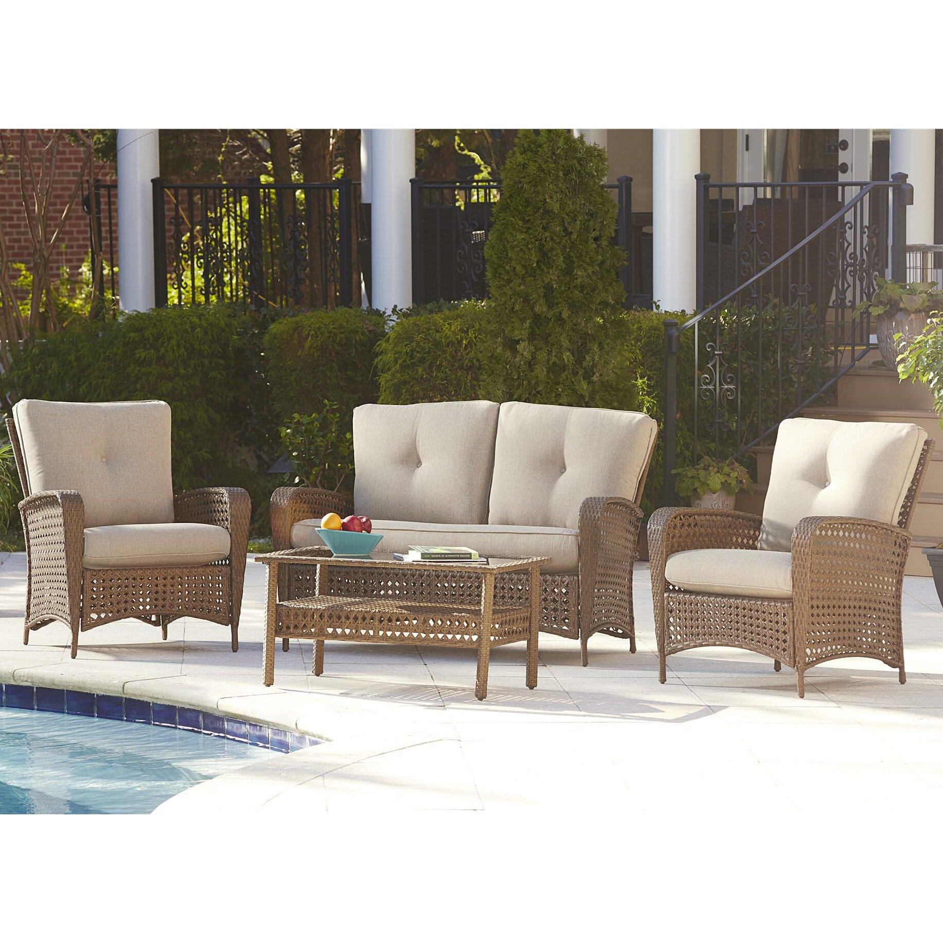 Three Posts Marathon 4 Piece Seating Group with Cushions ...