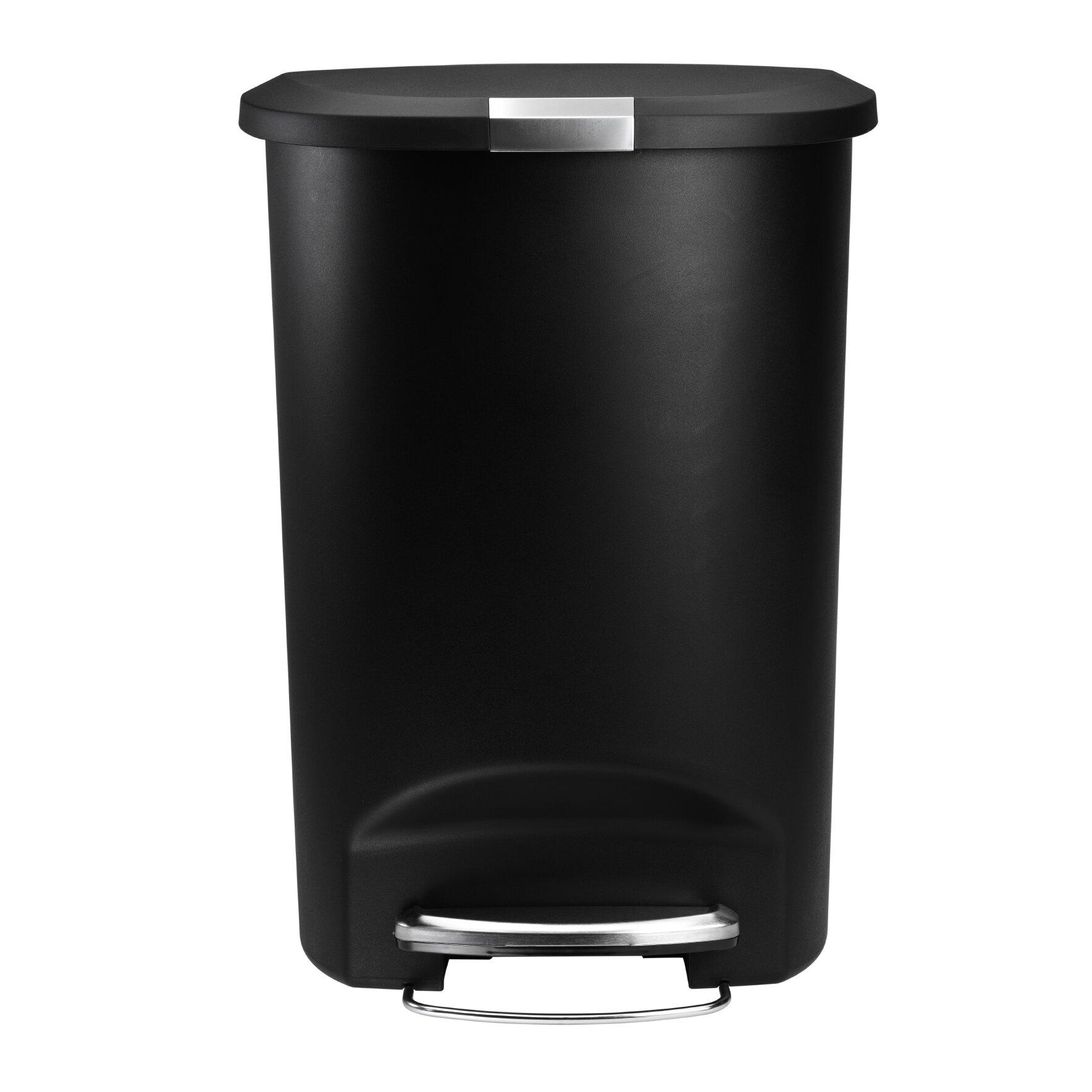 simplehuman 13 gallon step-on trash can & reviews   wayfair
