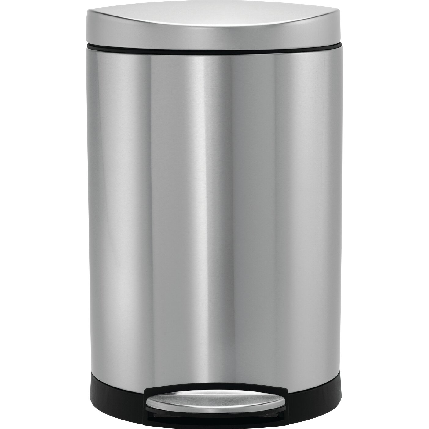 simplehuman 2 6 gal semi round step trash can in stainless steel reviews wayfair. Black Bedroom Furniture Sets. Home Design Ideas