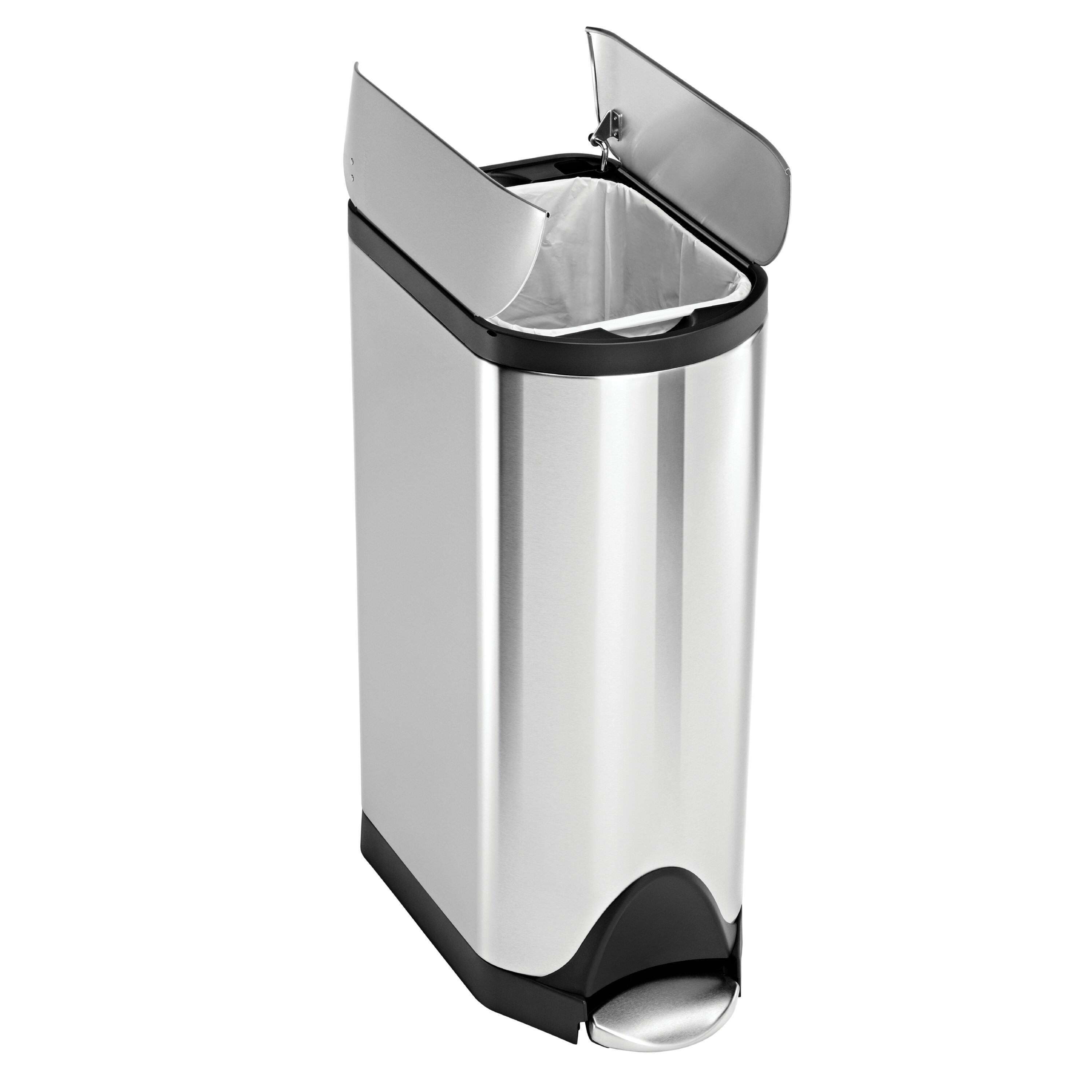Simplehuman 30l butterfly step trash can reviews wayfair for Simplehuman trash can