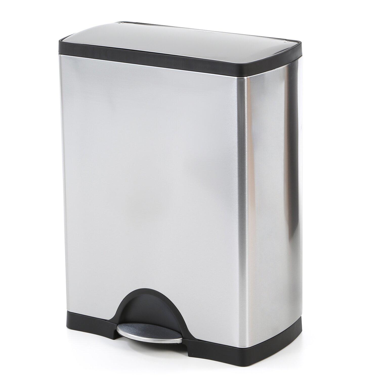 Simplehuman 13 2 gal rectangular step stainless steel trash can reviews wayfair - Rectangular garbage cans ...