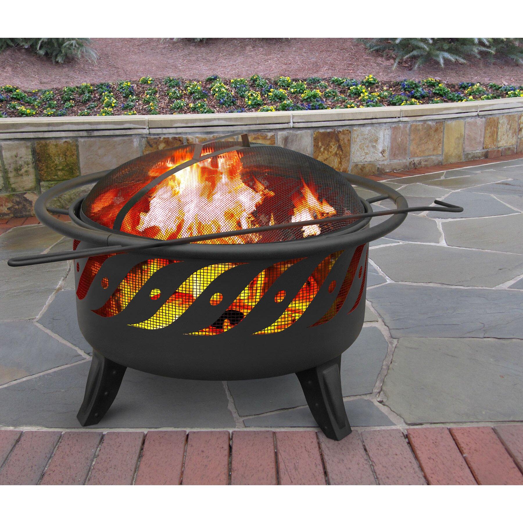 Backyard Patios With Fire Pits: Landmann Patio Lights Wood Burning Fire Pit & Reviews