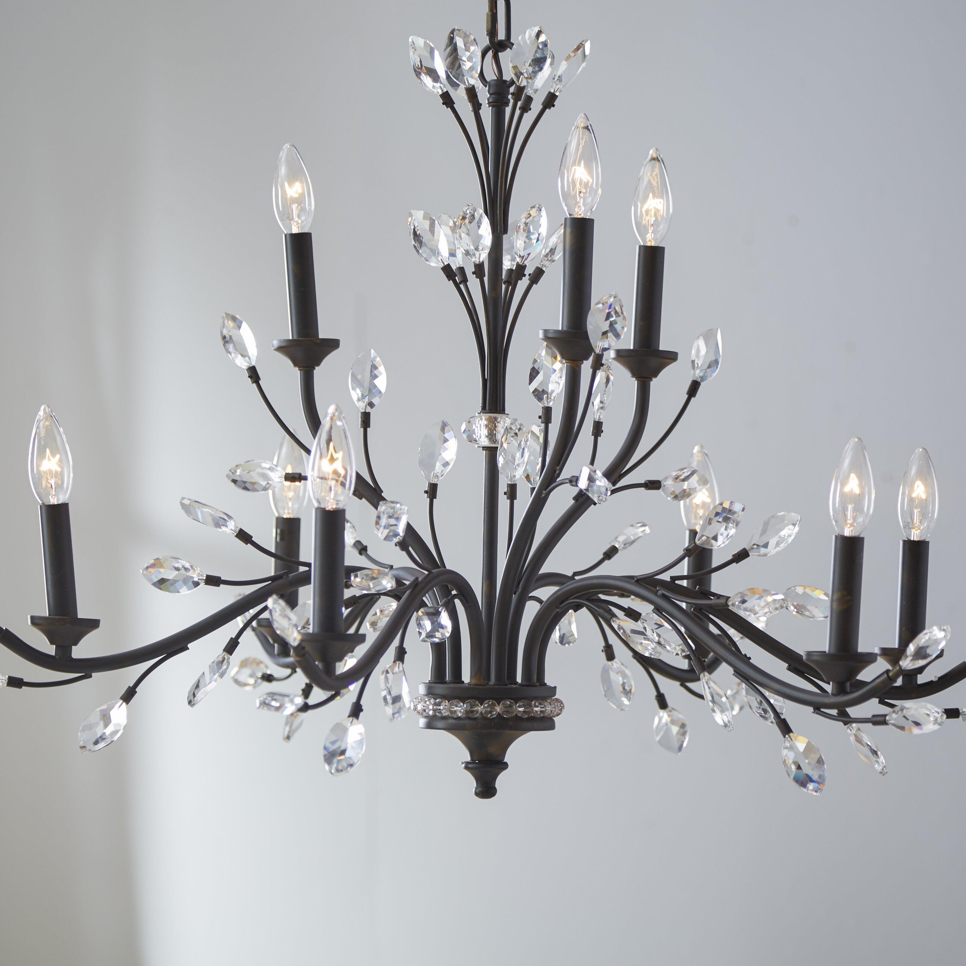 elk lighting crystal branches 9 light candle chandelier wayfair. Black Bedroom Furniture Sets. Home Design Ideas