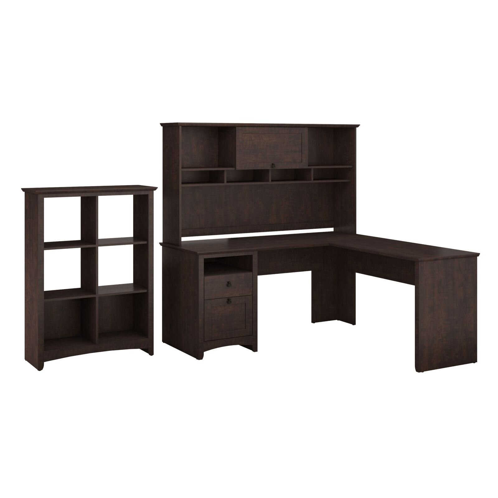 Executive Corner Desk With Hutch & 6 Slot Bookcase & Reviews Wa . Full resolution‎  image, nominally Width 1600 Height 1600 pixels, image with #2F2521.