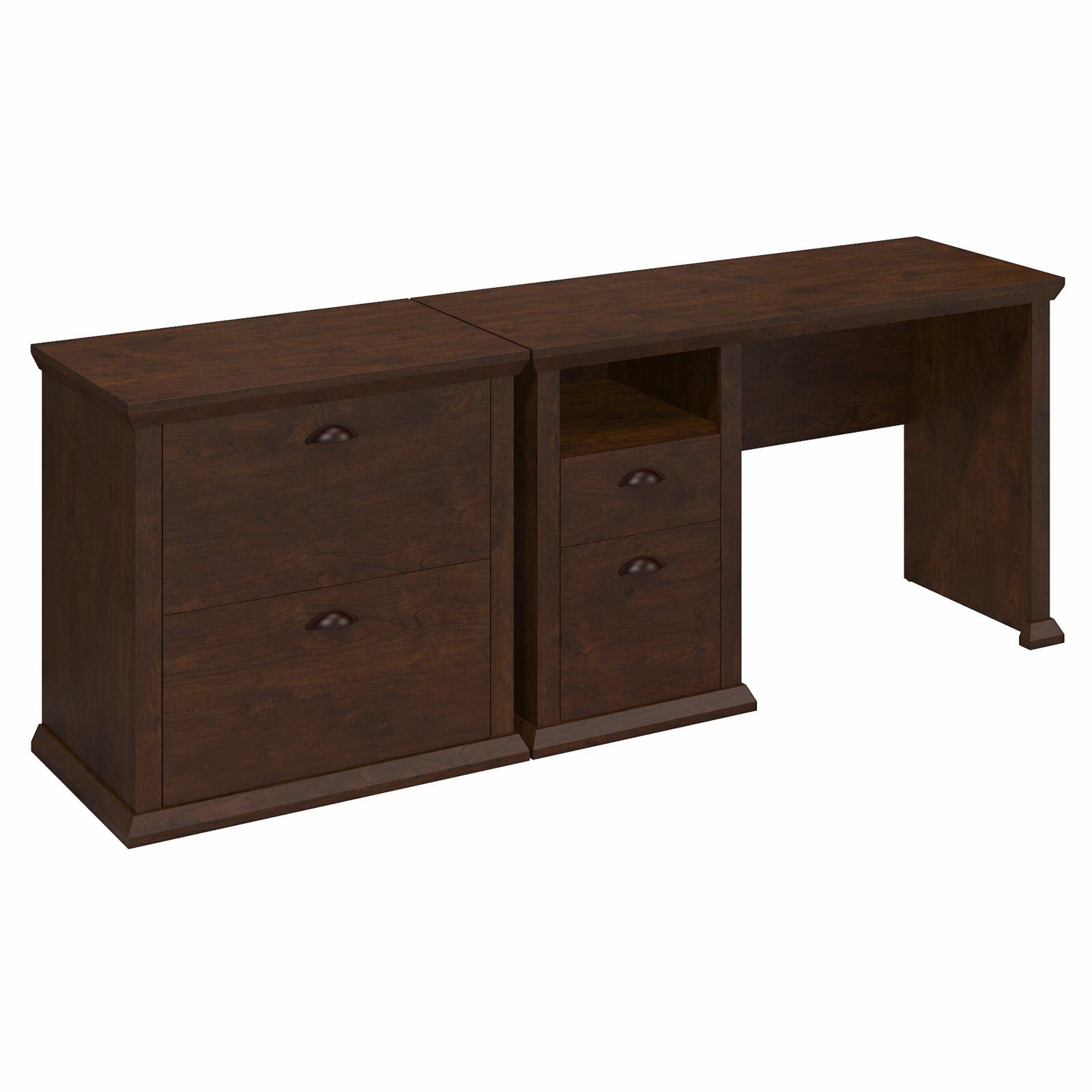 Bush furniture yorktown single pedestal desk and lateral for Bush furniture