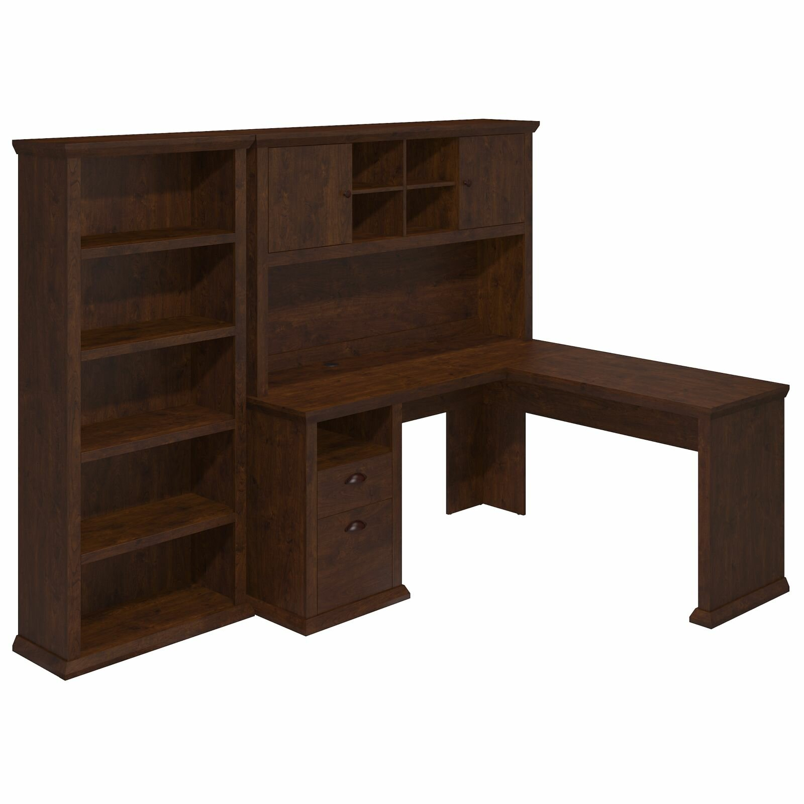 Yorktown Corner Desk With Hutch And Bookcase & Reviews Wayfair. Full resolution‎  image, nominally Width 1600 Height 1600 pixels, image with #372218.