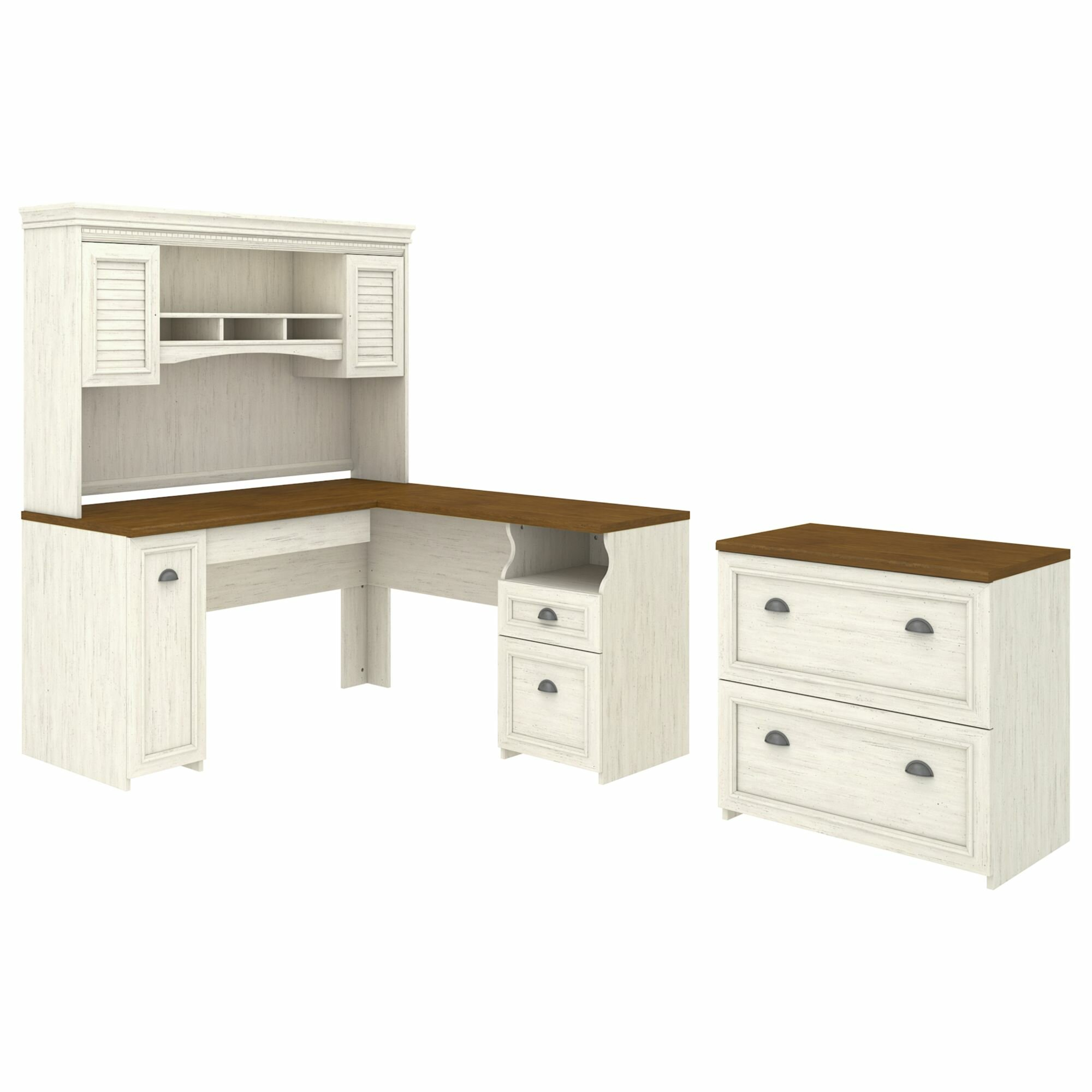 bush furniture fairview desk with hutch and lateral file cabinet wayfair. Black Bedroom Furniture Sets. Home Design Ideas